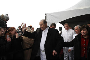 President Thomas S. Monson waves to members gathered for the cornerstone ceremoney at the dedication of the Calgary Alberta Temple on Sunday, Oct. 28. Sunday, Oct., 28, 2012. Photo by Gerry Avant