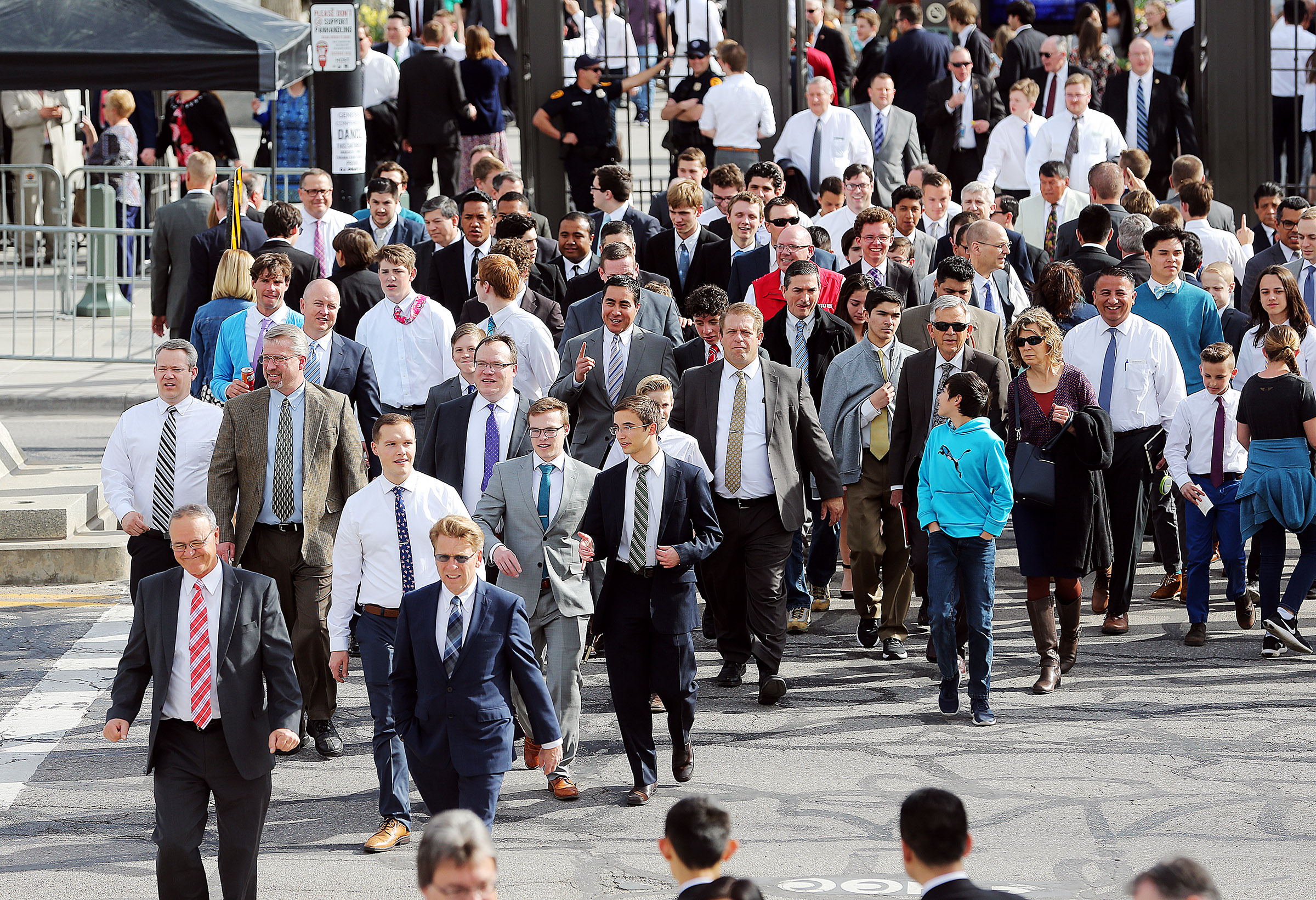 Priesthood goers begin making their way into the Conference Center for the general priesthood session of the 188th Annual General Conference of The Church of Jesus Christ of Latter-day Saints, in Salt Lake City on Saturday, March 31, 2018.