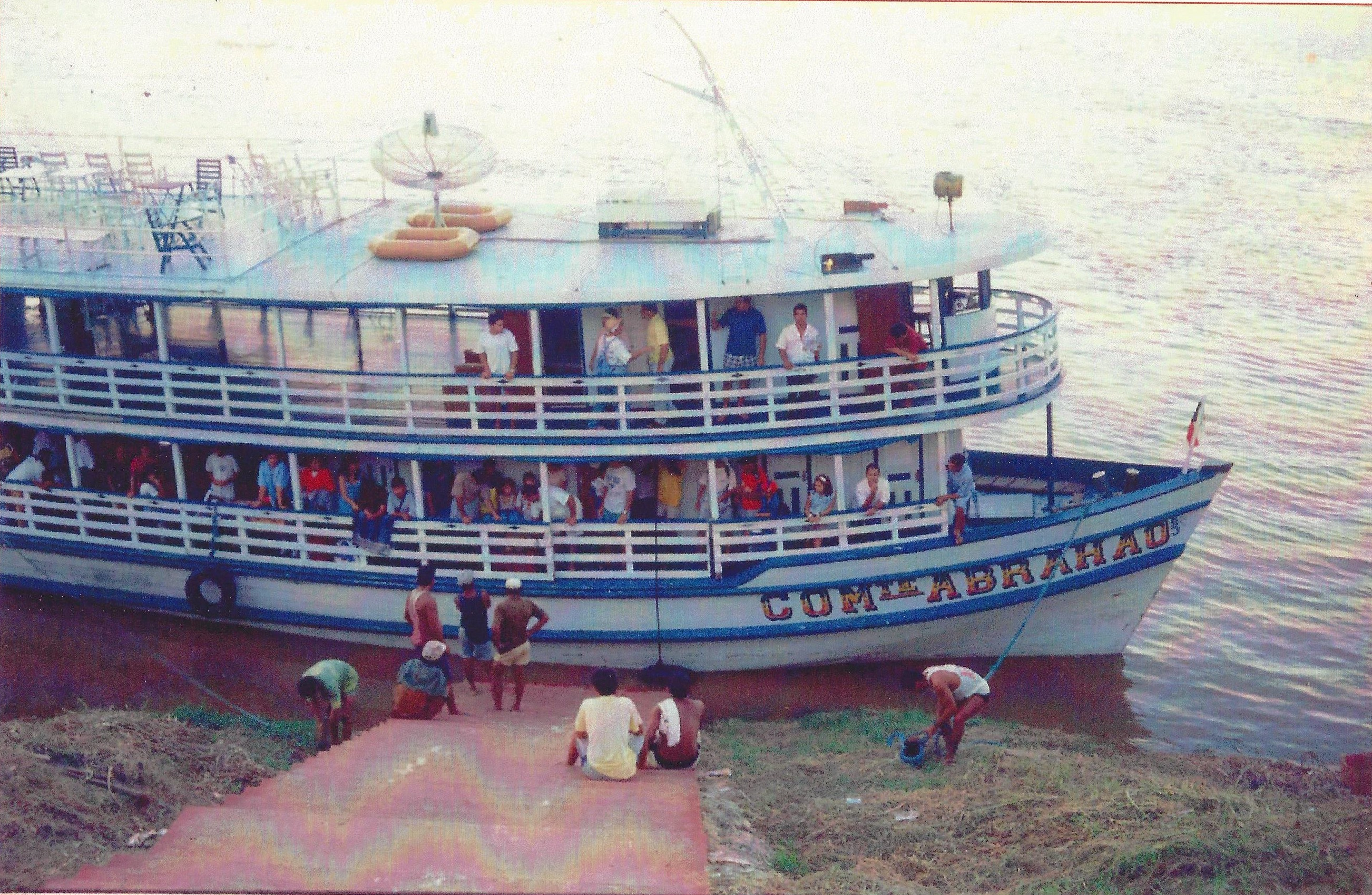 """Church members from Manaus rode the """"Comandante Abrahao"""" for three days on Rio Negro and Rio Madeira on their November 1992 trip to the Sao Paulo Brazil Temple."""