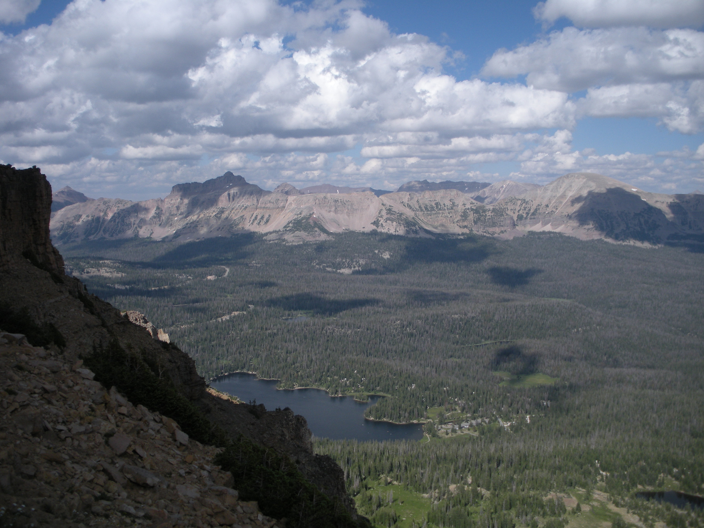 Looking northeast from just below the summit of Bald Mountain in the High Uintas shows Mirror Lake and a vast vista below.