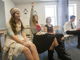 Classes during church Sunday, Dec., 16, 2012, take part in the new LDS youth curriculum.
