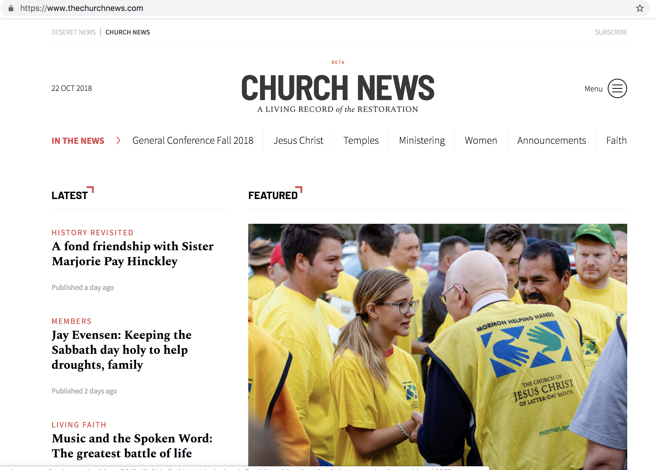 The Church News has updated its web address and online presence to more accurately align with the full name of the Church.