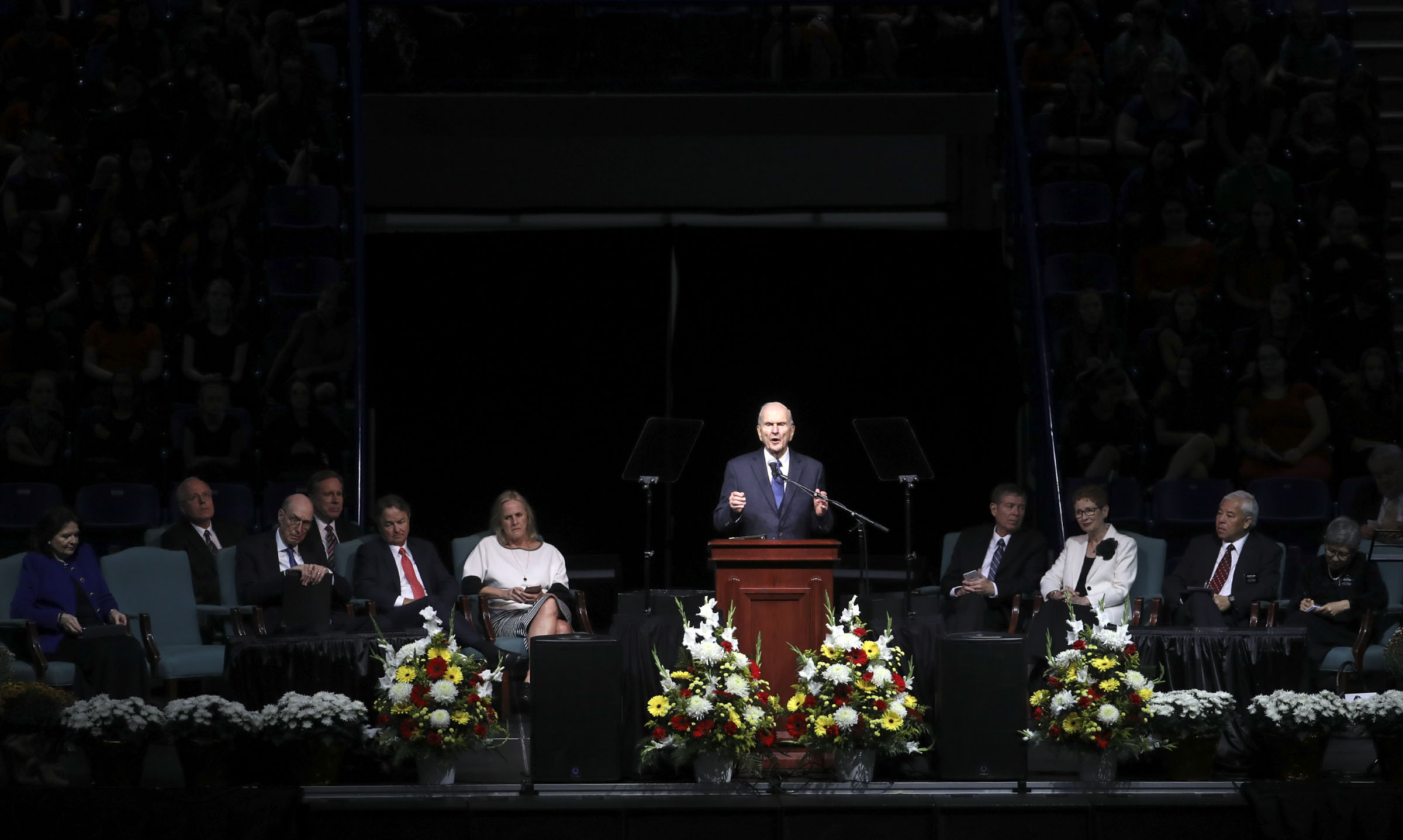President Russell M. Nelson of The Church of Jesus Christ of Latter-day Saints speaks at the Langley Events Center in Langley, British Columbia, on Sunday, Sept. 16, 2018.
