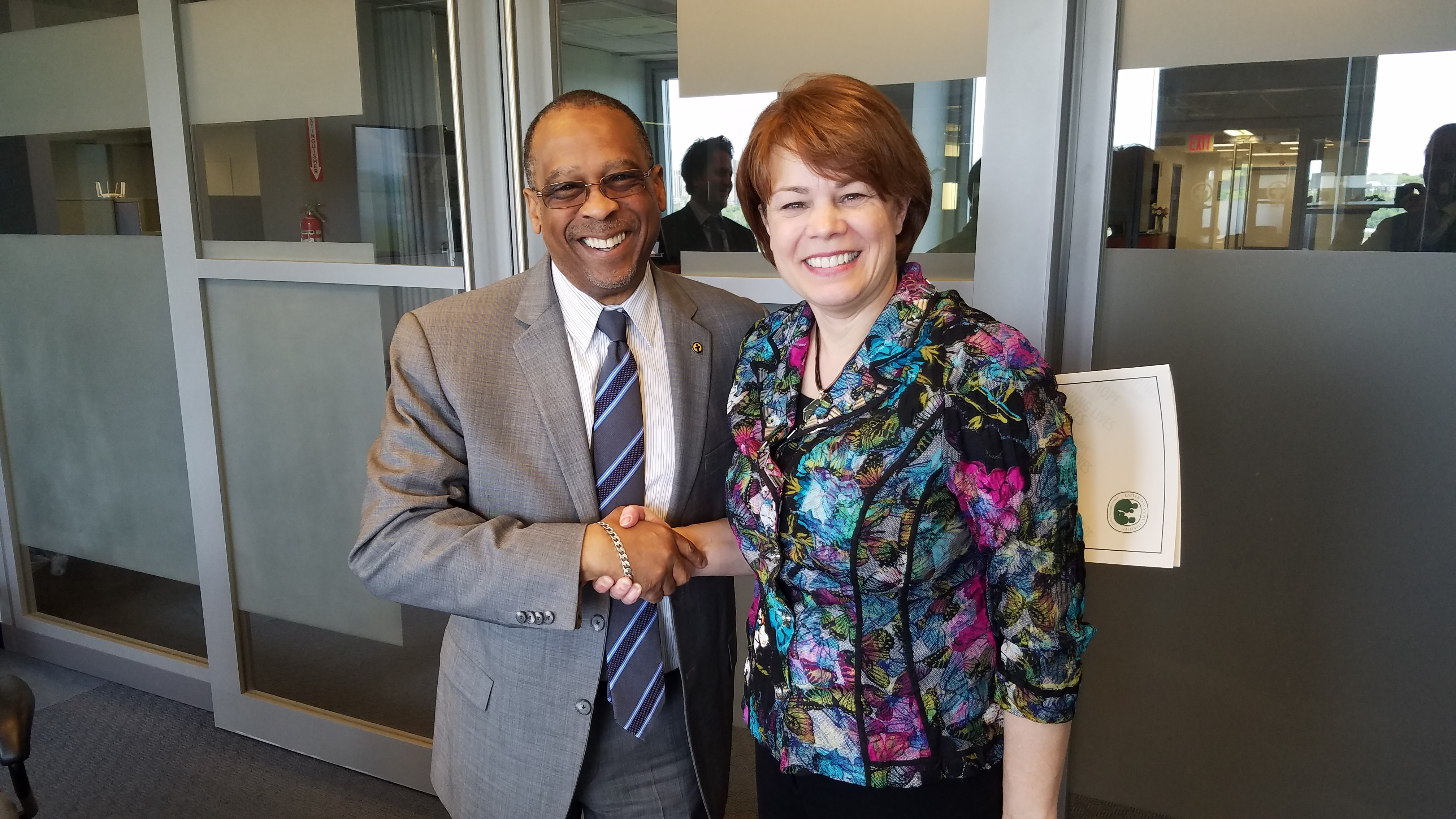 Reverend John L. McCullough, president and CEO of Church World Service, welcomes Sister Sharon Eubank, president of Latter-day Saint Charities and first counselor in the Church's Relief Society general presidency, on May 15, 2019, in New York City.