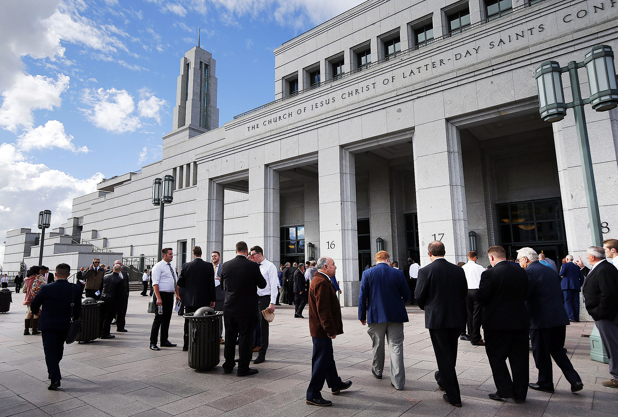 Conferencegoers arrive for Saturday's priesthood session of the 189th Annual General Conference of The Church of Jesus Christ of Latter-day Saints in the Conference Center in Salt Lake City on Saturday, April 6, 2019.