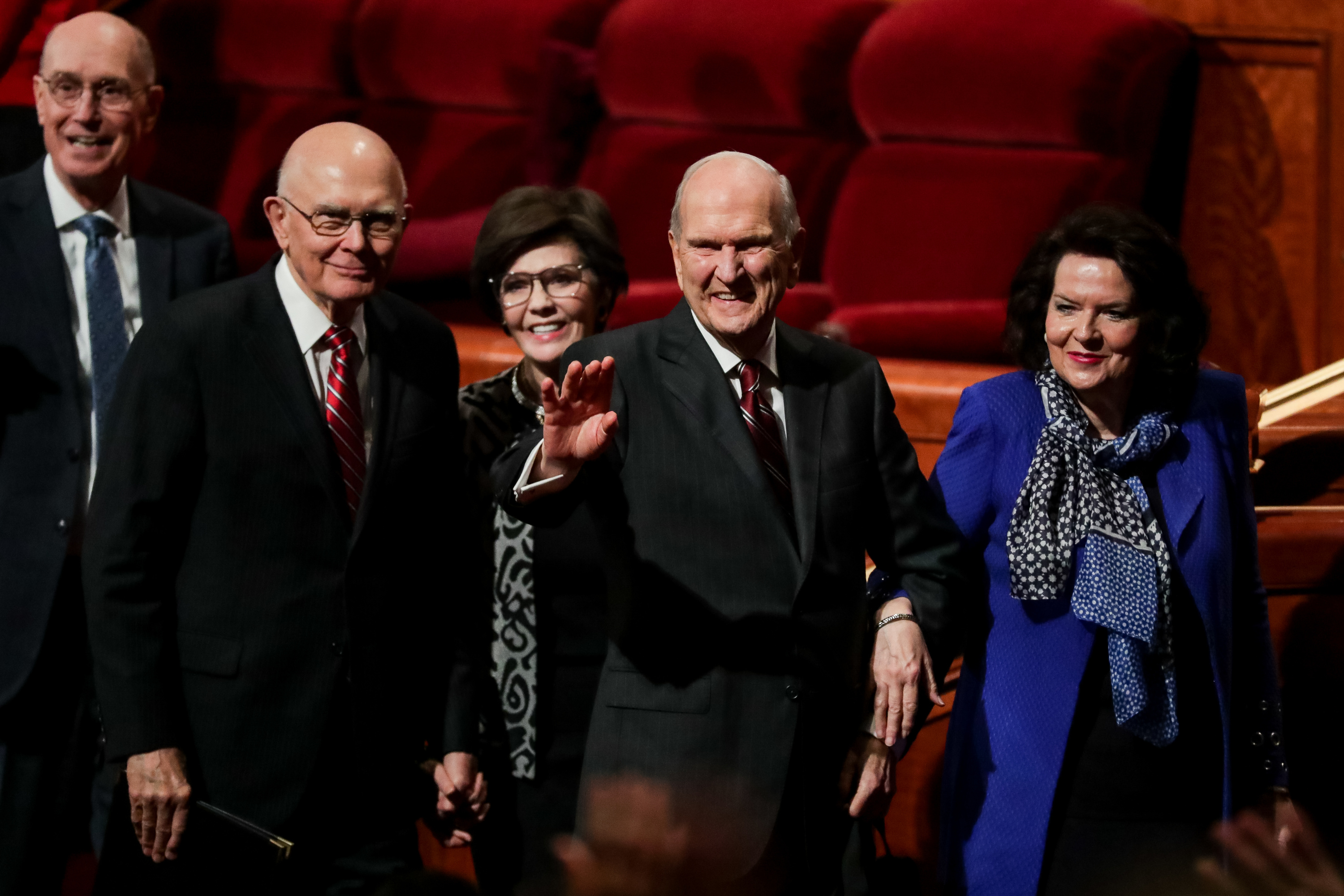 President Henry B. Eyring, second counselor in the First Presidency, President Dallin H. Oaks, first counselor in the First Presidency, his wife, Sister Kristen Oaks, President Russell M. Nelson and his wife, Sister Wendy Nelson, left to right, leave the rostrum at the end of the Saturday afternoon session of the 188th Semiannual General Conference of The Church of Jesus Christ of Latter-day Saints in the Conference Center in Salt Lake City on Saturday, Oct. 6, 2018.