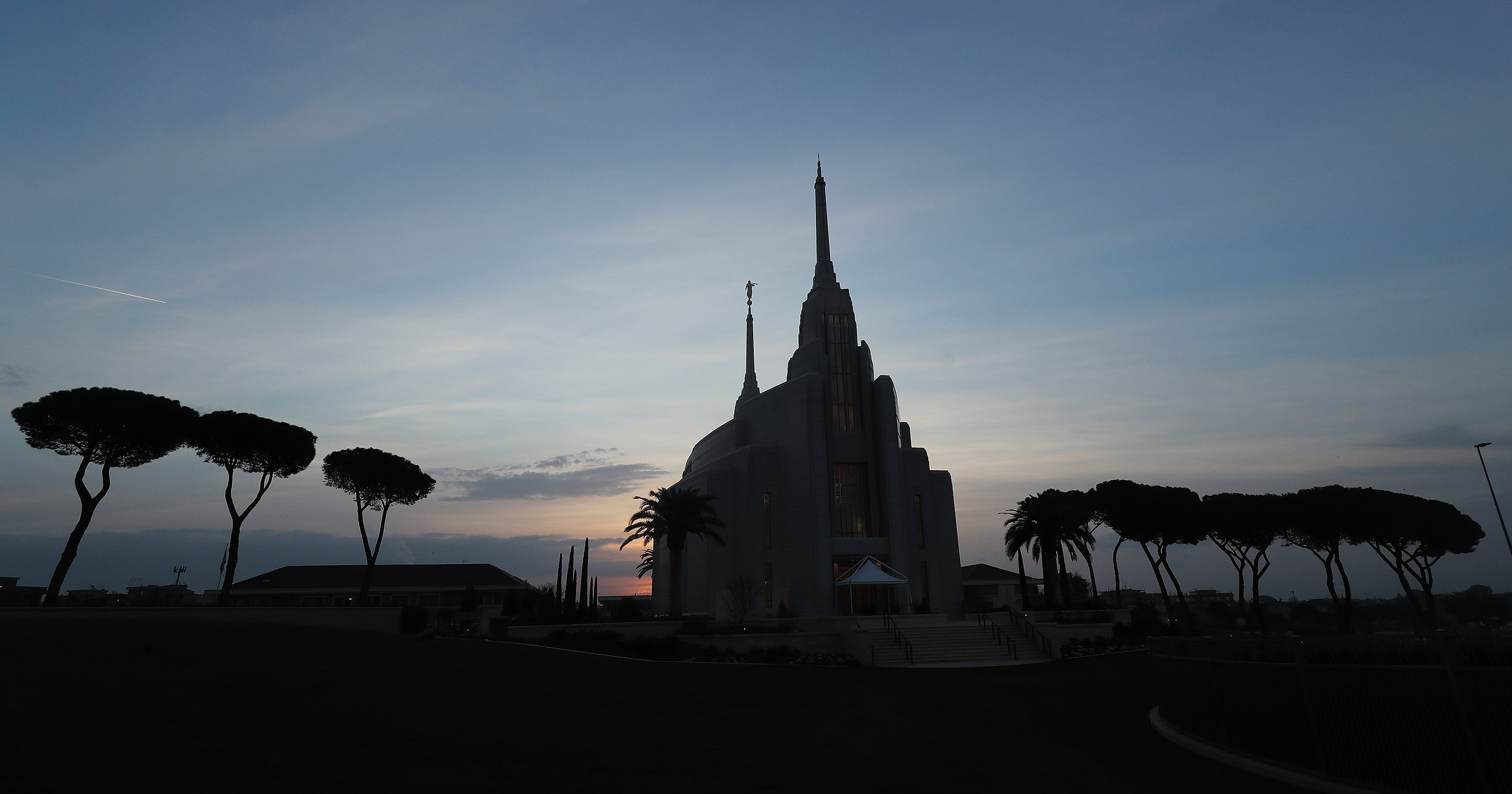 The Rome Italy Temple of The Church of Jesus Christ of Latter-day Saints at sunrise in Rome, Italy on Friday, March 8, 2019.