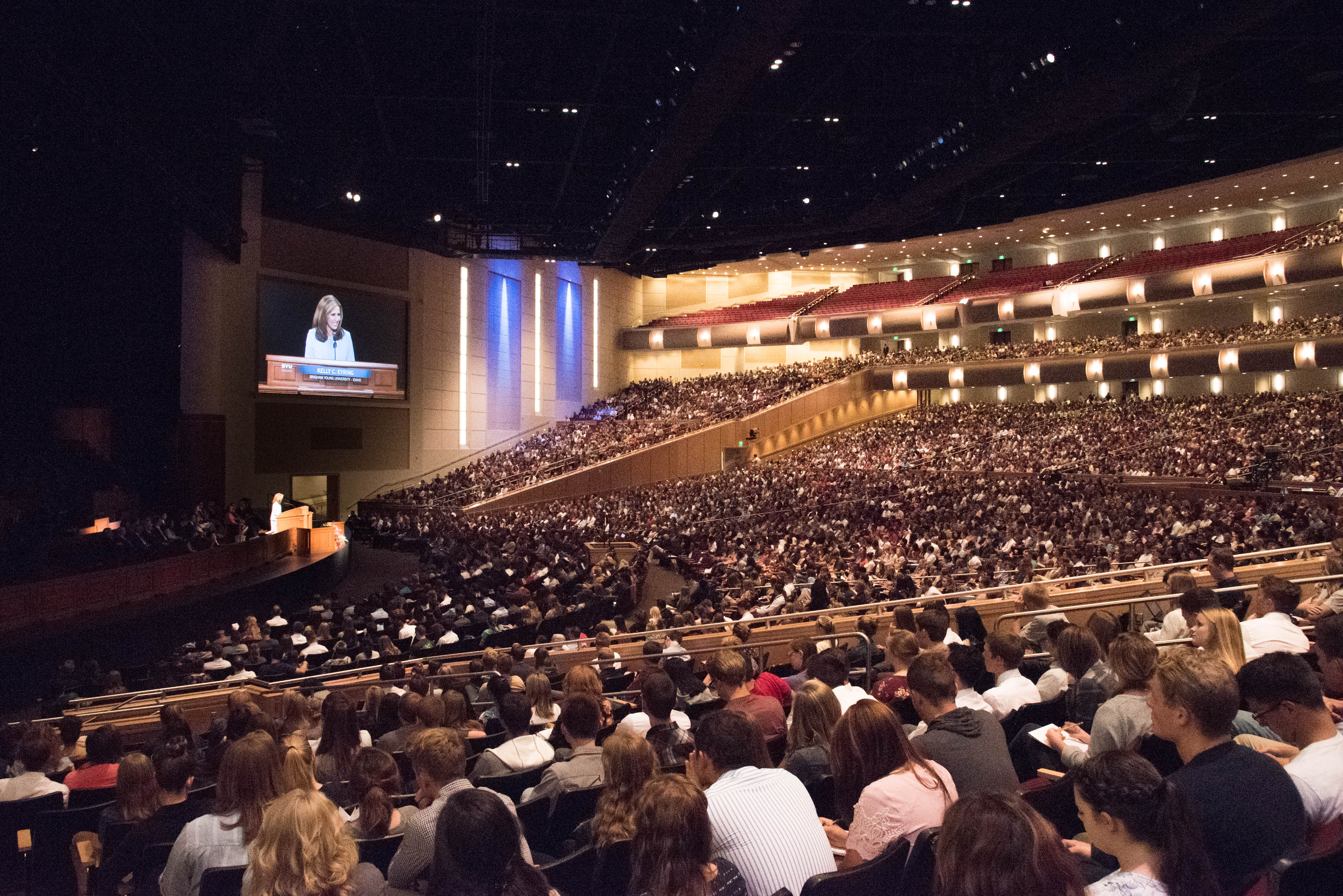 Sister Kelly C. Eyring speaks at a devotional in the BYU-Idaho Center in Rexburg, Idaho, on Sept. 18, 2018.