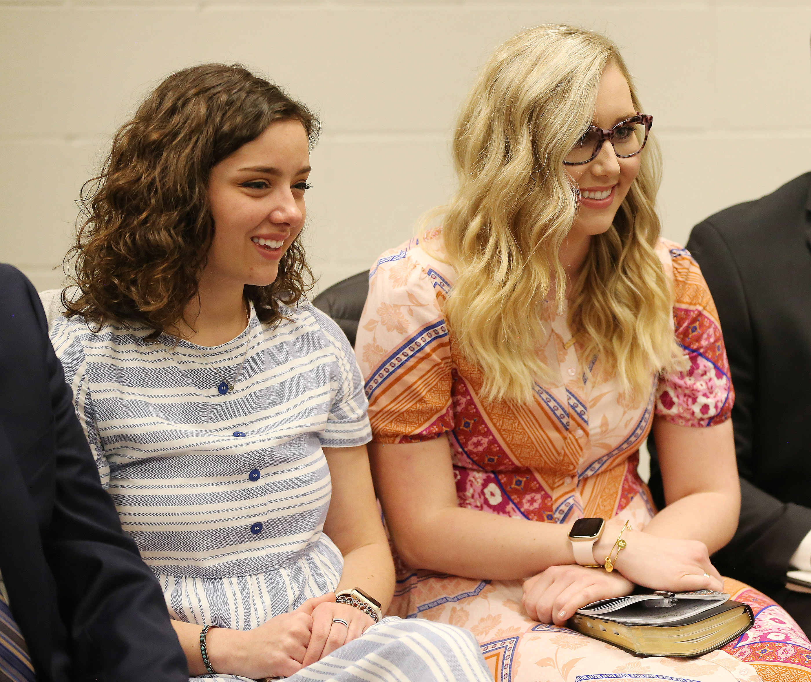 Avery Beeson and Rebecca Adams attend a meeting of 10 young single adults with President Russell M. Nelson of The Church of Jesus Christ of Latter-day Saints in Phoenix on Sunday, Feb. 10, 2019.