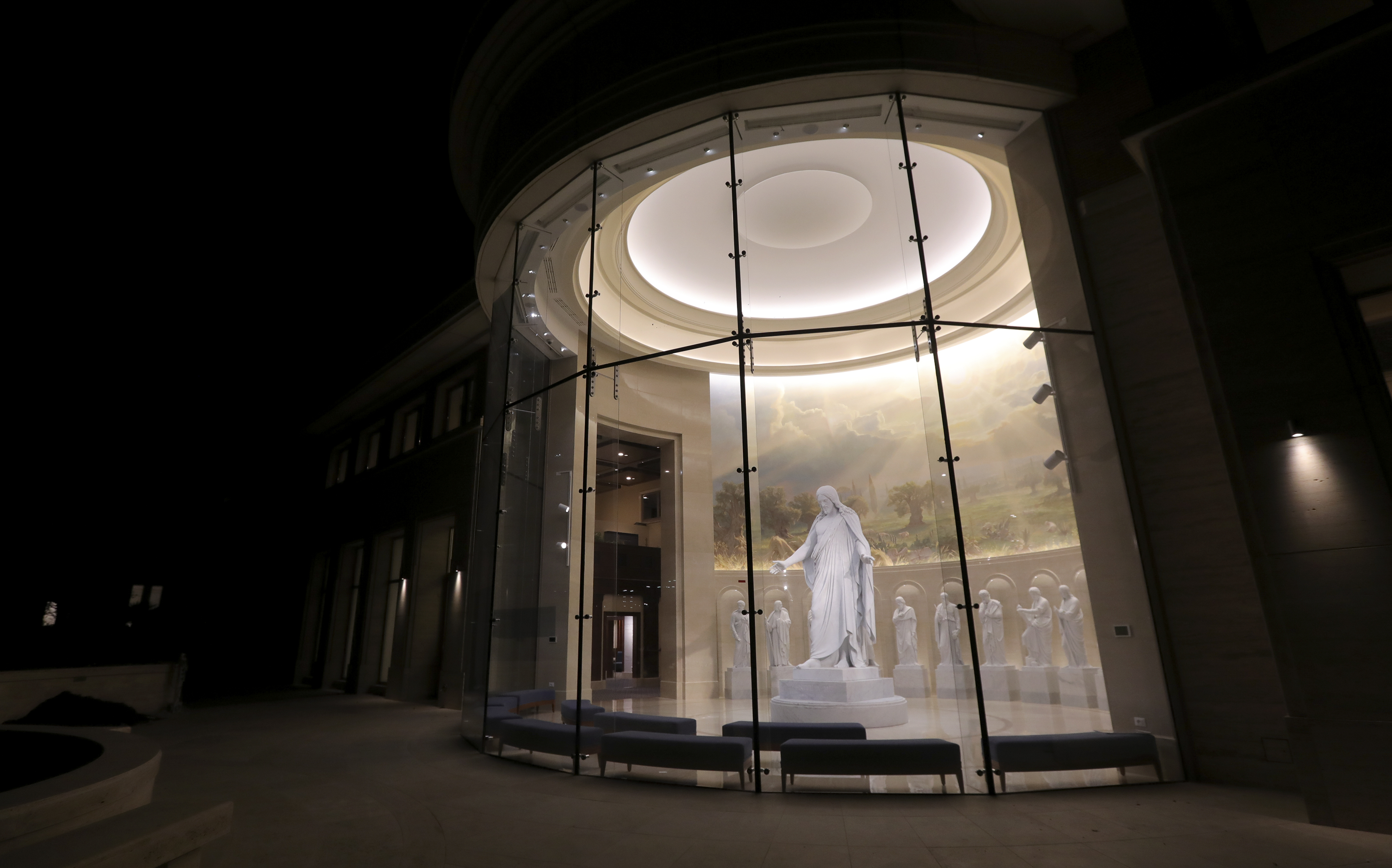 The Christus statue welcomes people to the Visitors' Center across from the Rome Temple in Rome, Italy, on Friday, Nov. 16, 2018.