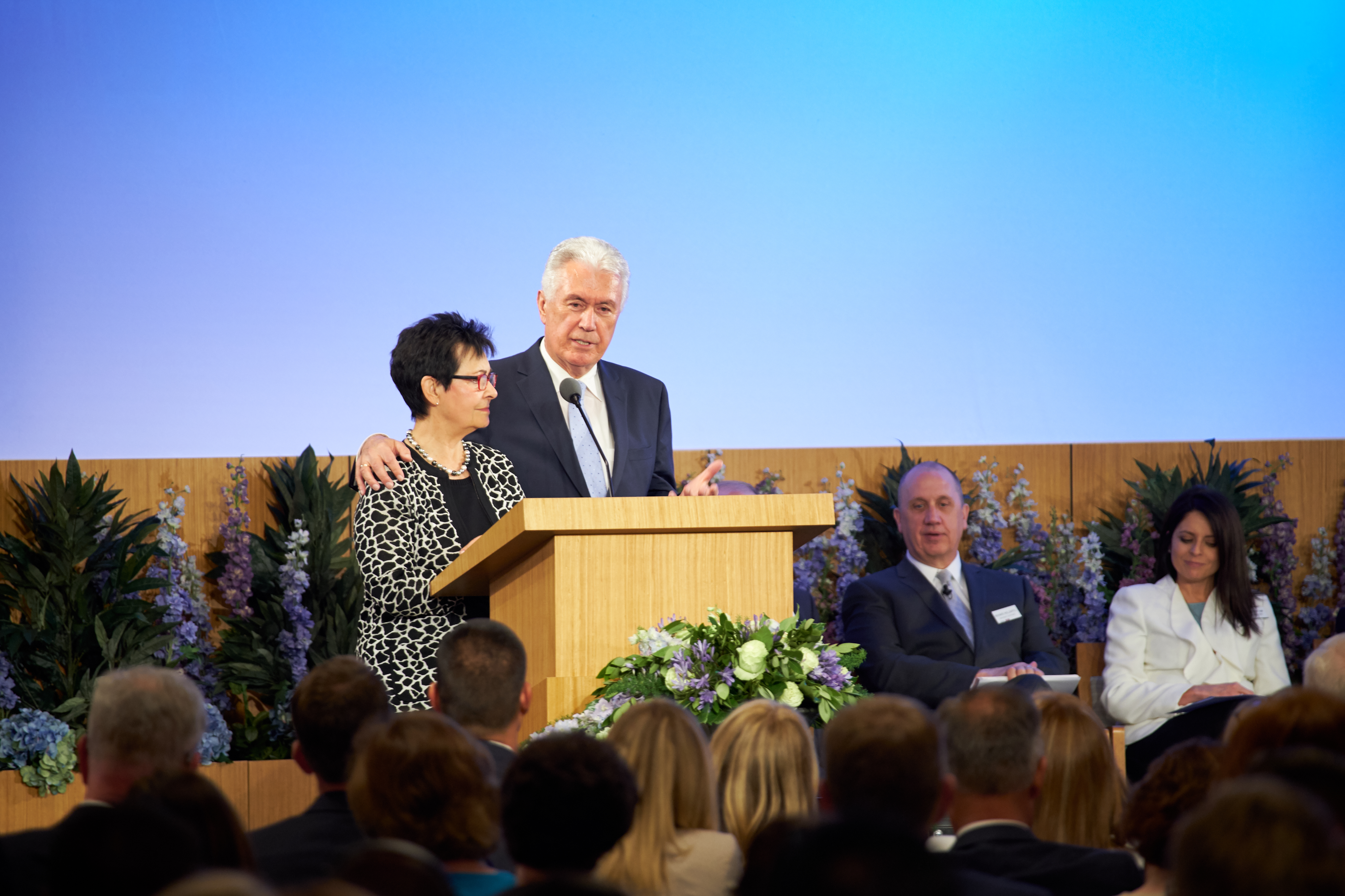 Elder Dieter F. Uchtdorf and his wife, Sister Harriet Uchtdorf, address new mission presidents and their wives during the 2018 Mission Leadership Seminar held in the Provo MTC June 24-26.