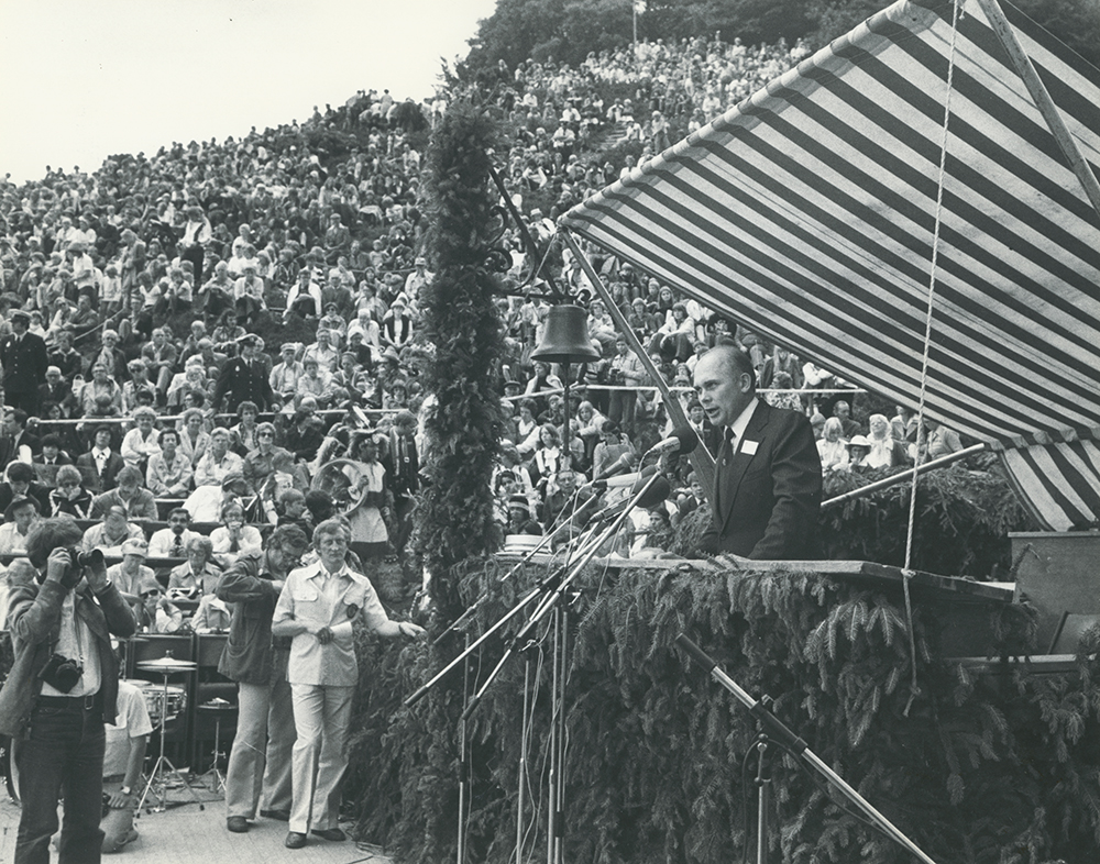 Dr. Dallin Oaks in Rebild, Denmark, July 4, 1978. He was the keynote speaker at Danish American.