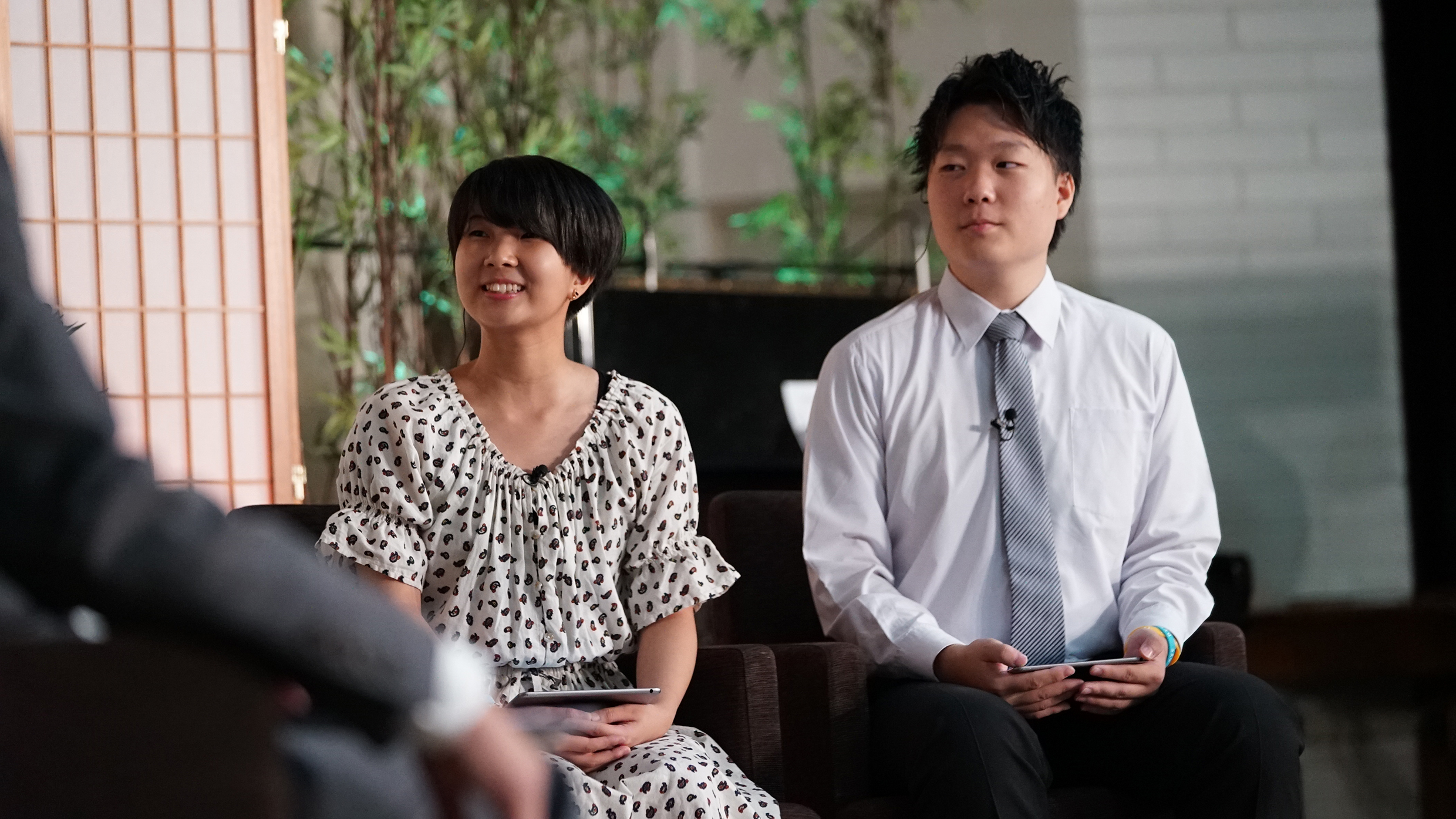 Youth hosts, Miyu Nakiatania and Mashahiro Yoshikawa, during the Face to Face event held in Japan on Aug. 14.