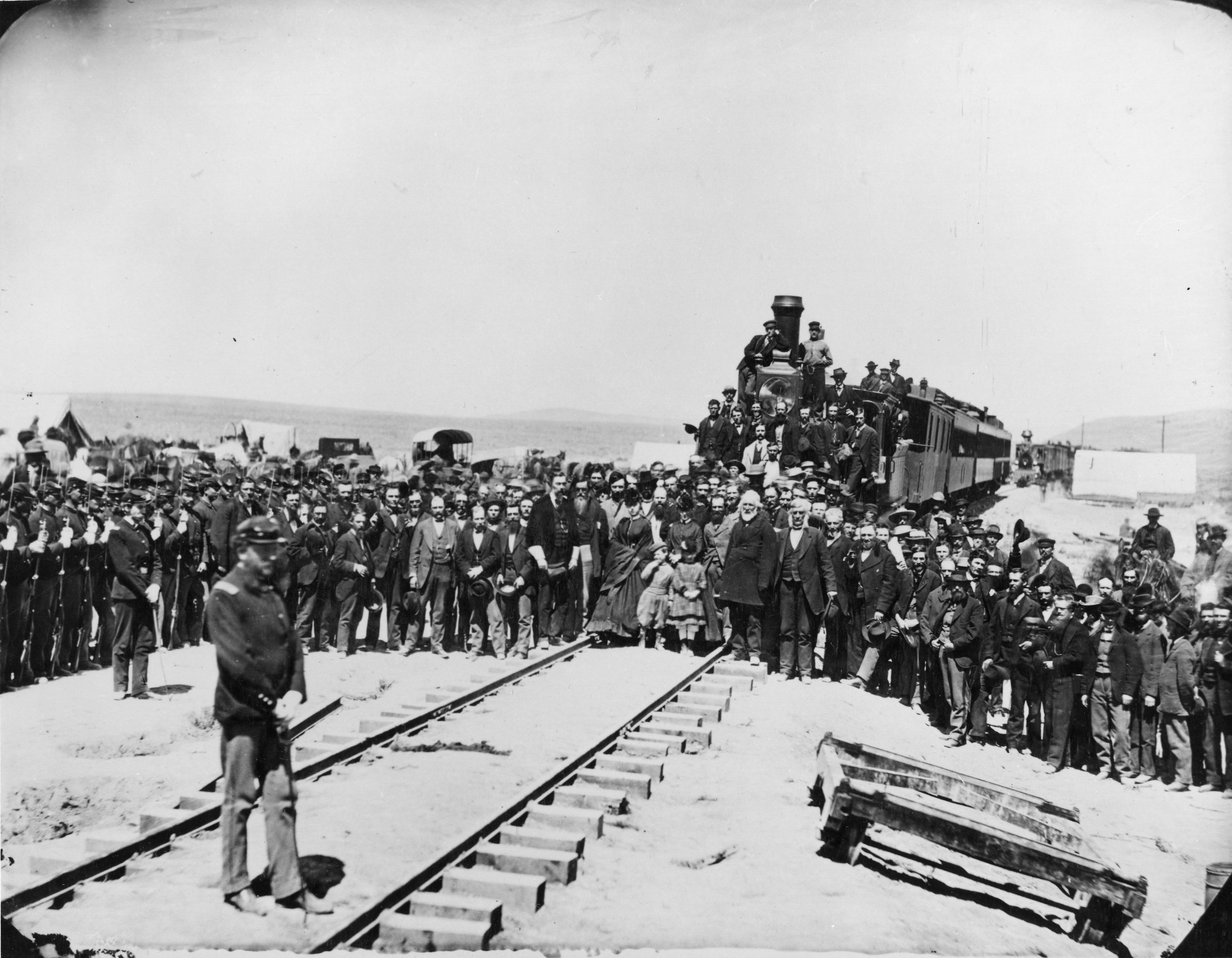 This photo shows a different view of the crowd gathered at Promontory, Utah, on May 10, 1869.