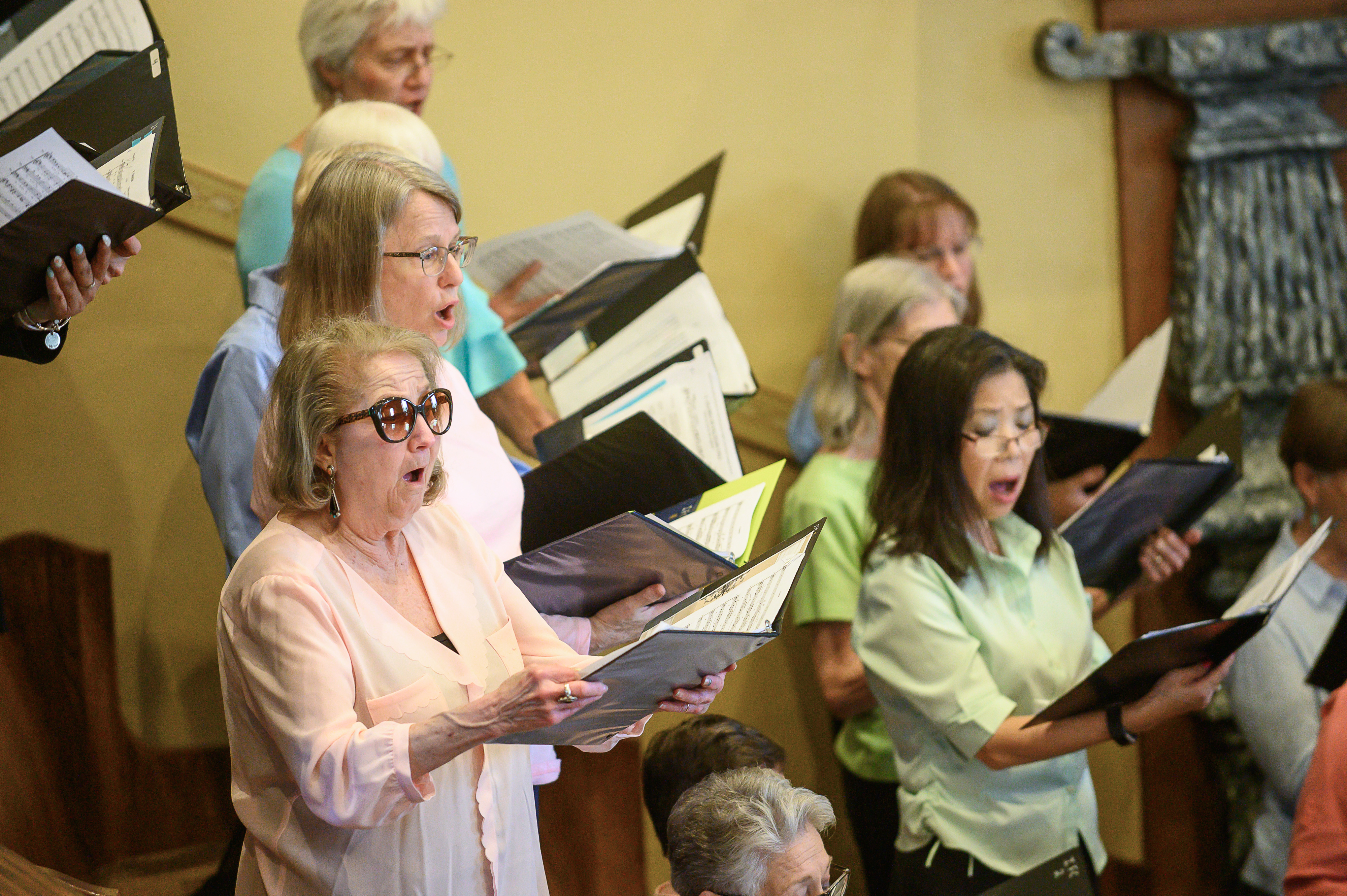 "Members of the Interfaith Choir sing Mozart's ""Ave Vernum"" during the Historic Interfaith Tribute at the St. George Tabernacle in St. George, Utah on Thursday, May 2, 2019."