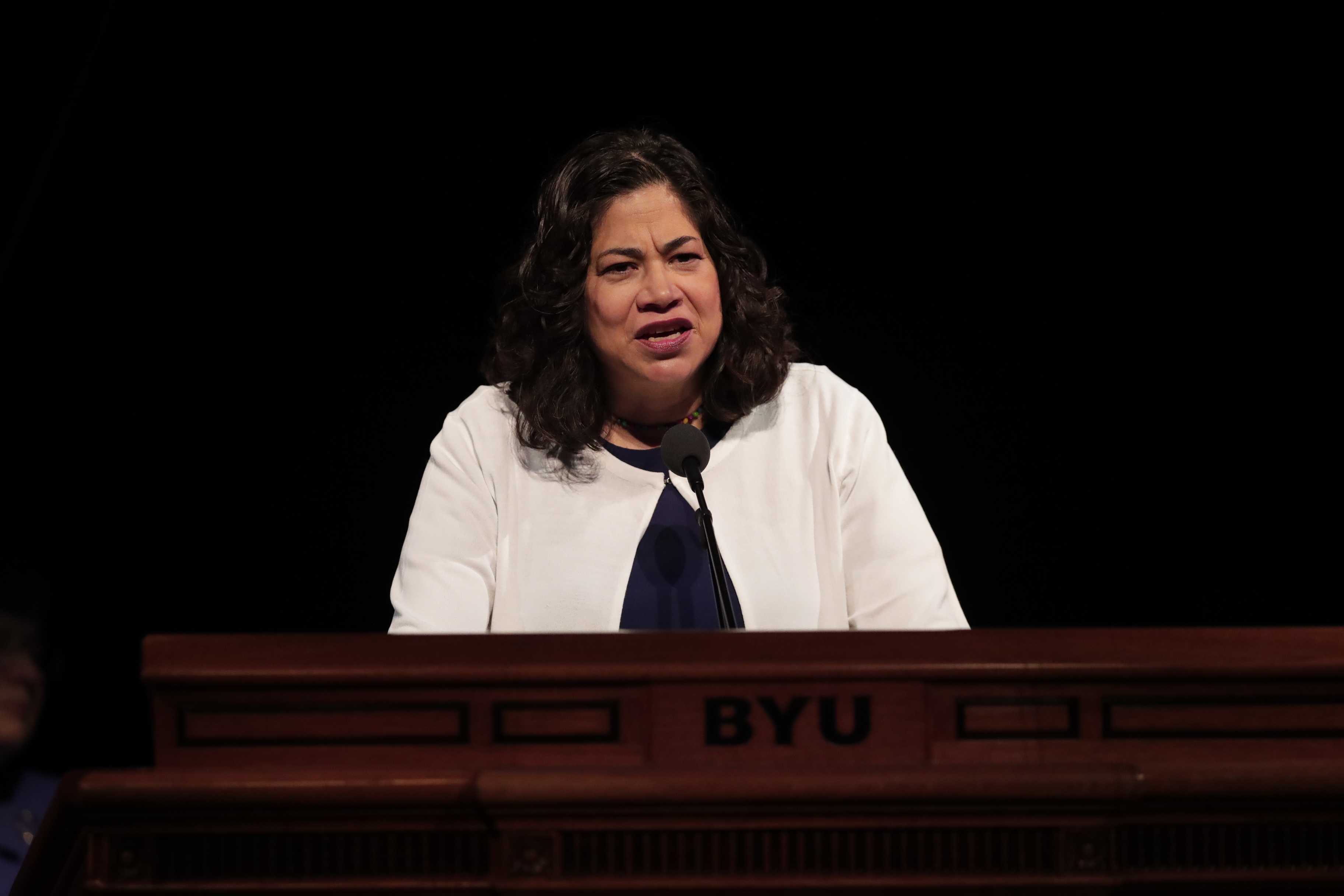 Sister Reyna I. Aburto, second counselor in the Relief Society general presidency, speaks during a session of the BYU Women's Conference at the Marriott Center on May 2, 2019.
