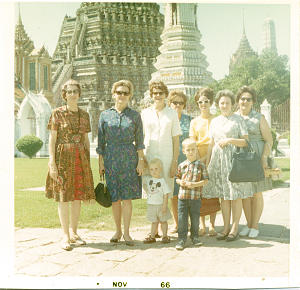 While in Thailand, Sister Lewis accompanied wives of General Authorities on tour in November 1966.
