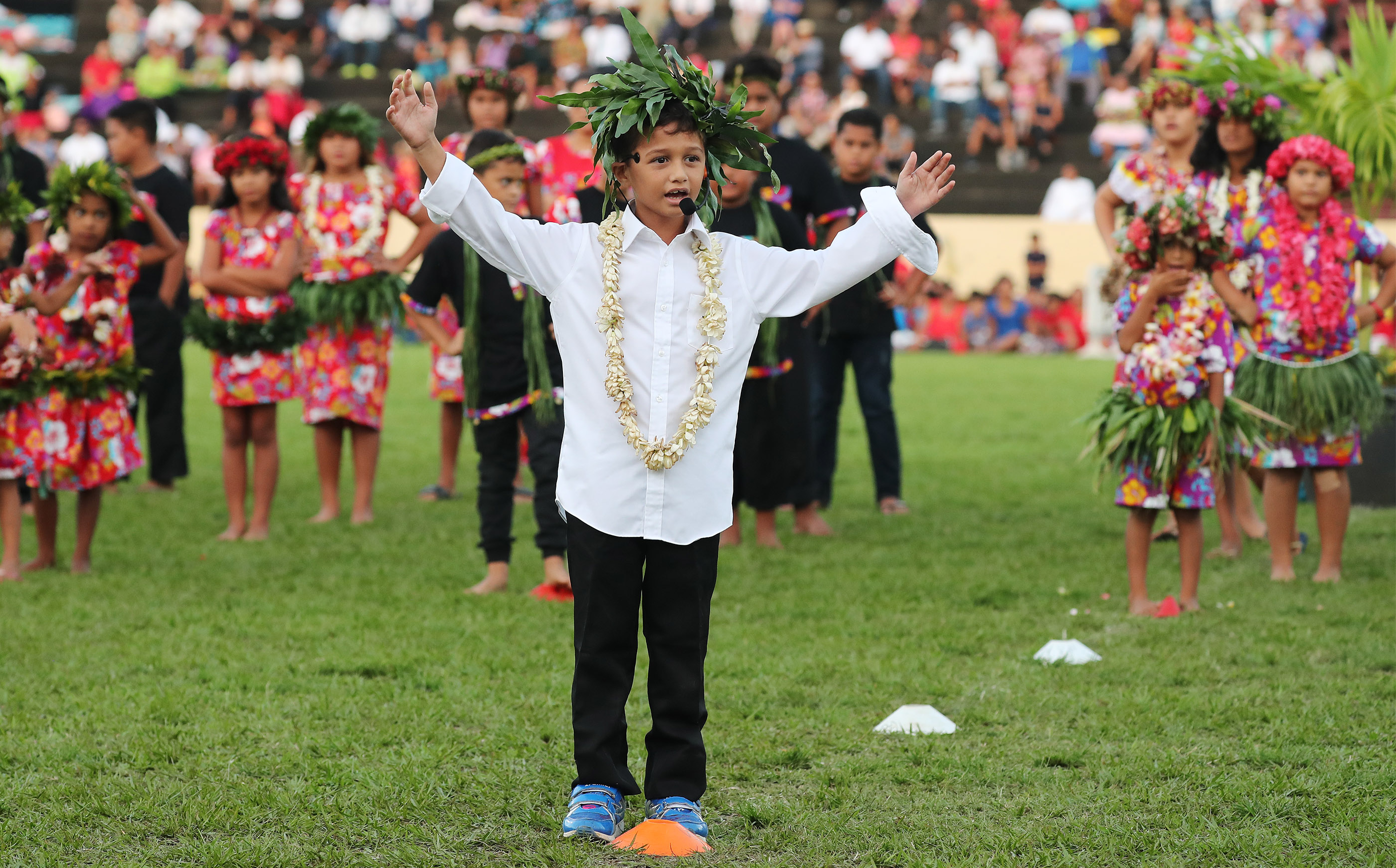 Performers entertain during a Tahiti cultural program for President Russell M. Nelson of The Church of Jesus Christ of Latter-day Saints in Papeete, Tahiti, on May 24, 2019.