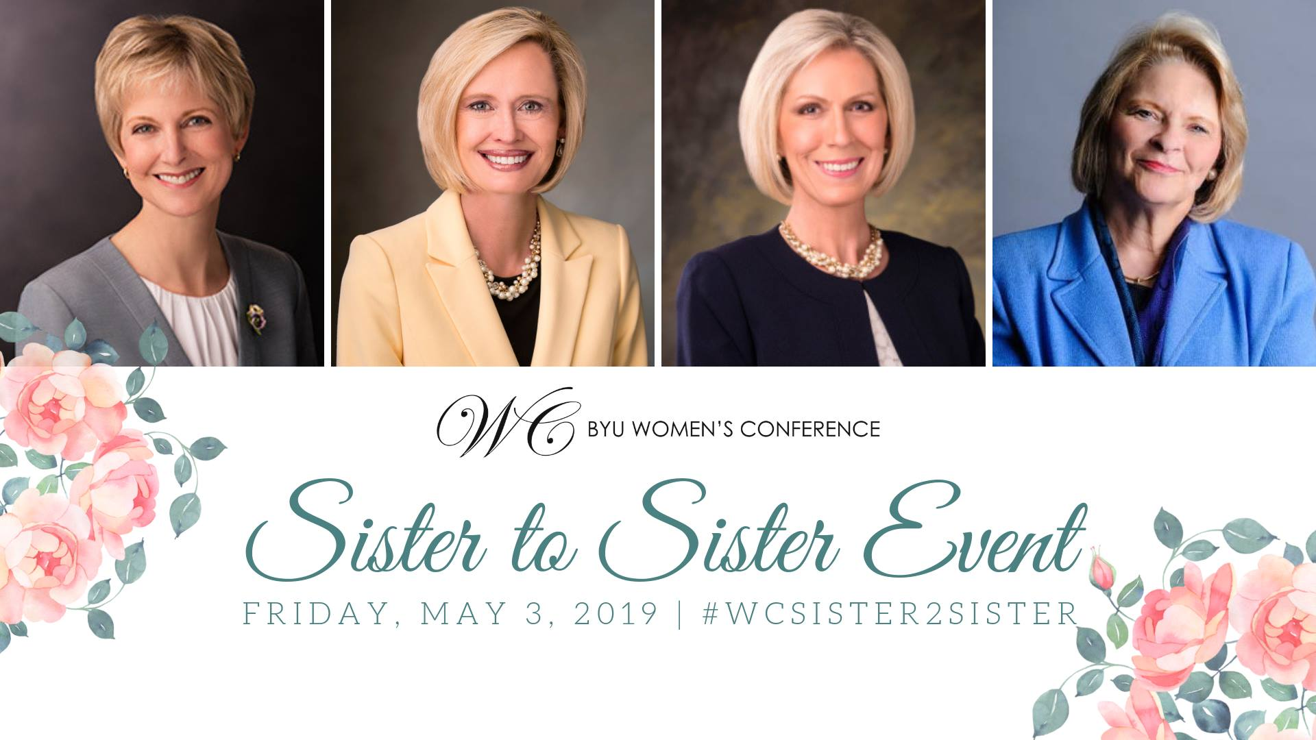 The first Sister-to-Sister event will be held on May 3, 2019, in the BYU Marriott Center. Sister Jean B. Bingham, Sister Bonnie H. Cordon and Sister Joy D. Jones will answer questions during the event, which will be moderated by Sheri Dew.