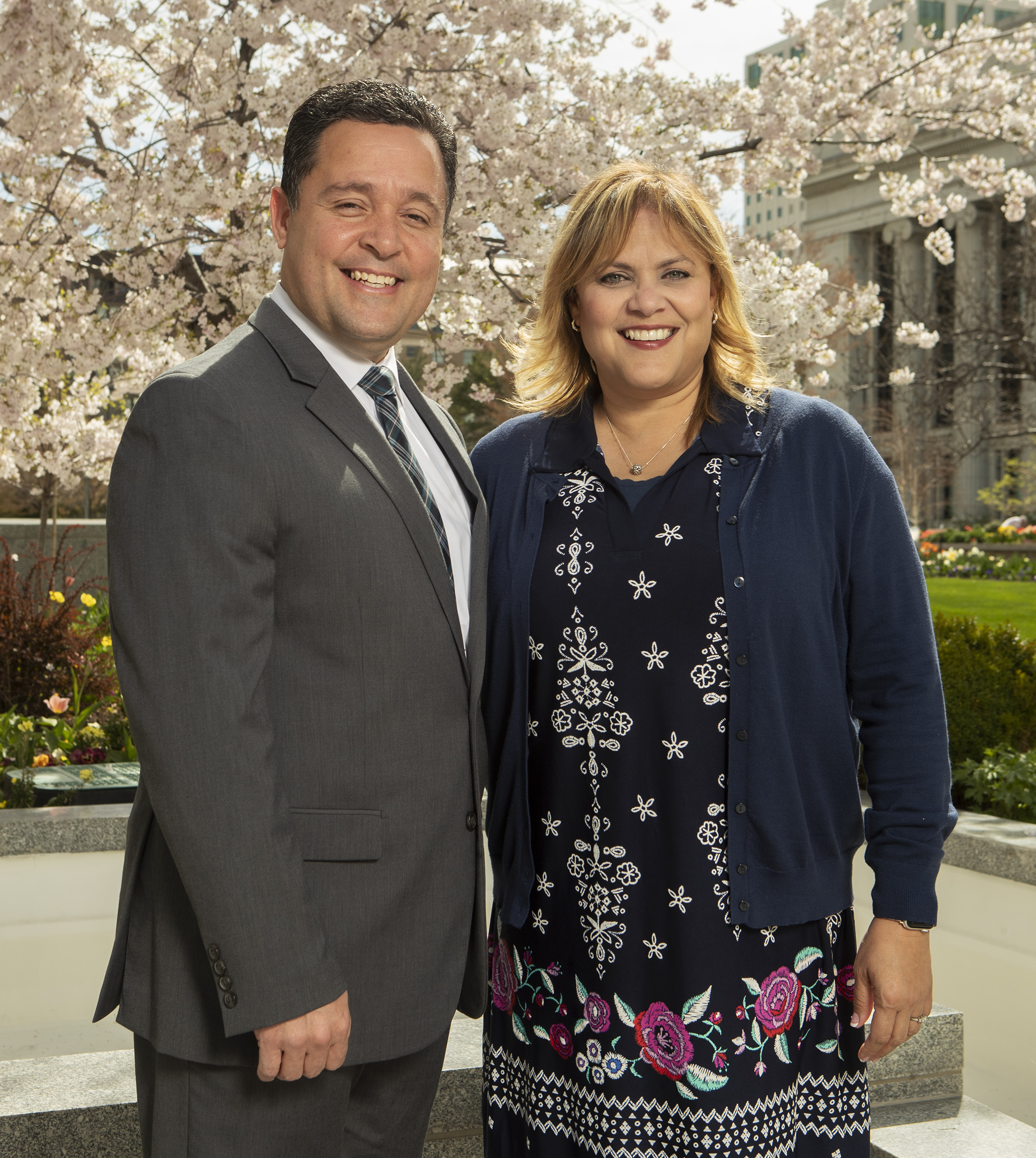 Elder Jorge M. Alvarado and Sister Cari Lu Rios Alvarado pose for a photo at the Church Office Building in Salt Lake City on Monday, April 8, 2019. Elder Alvarado was called to be a General Authority Seventy during the April 2019 general conference.