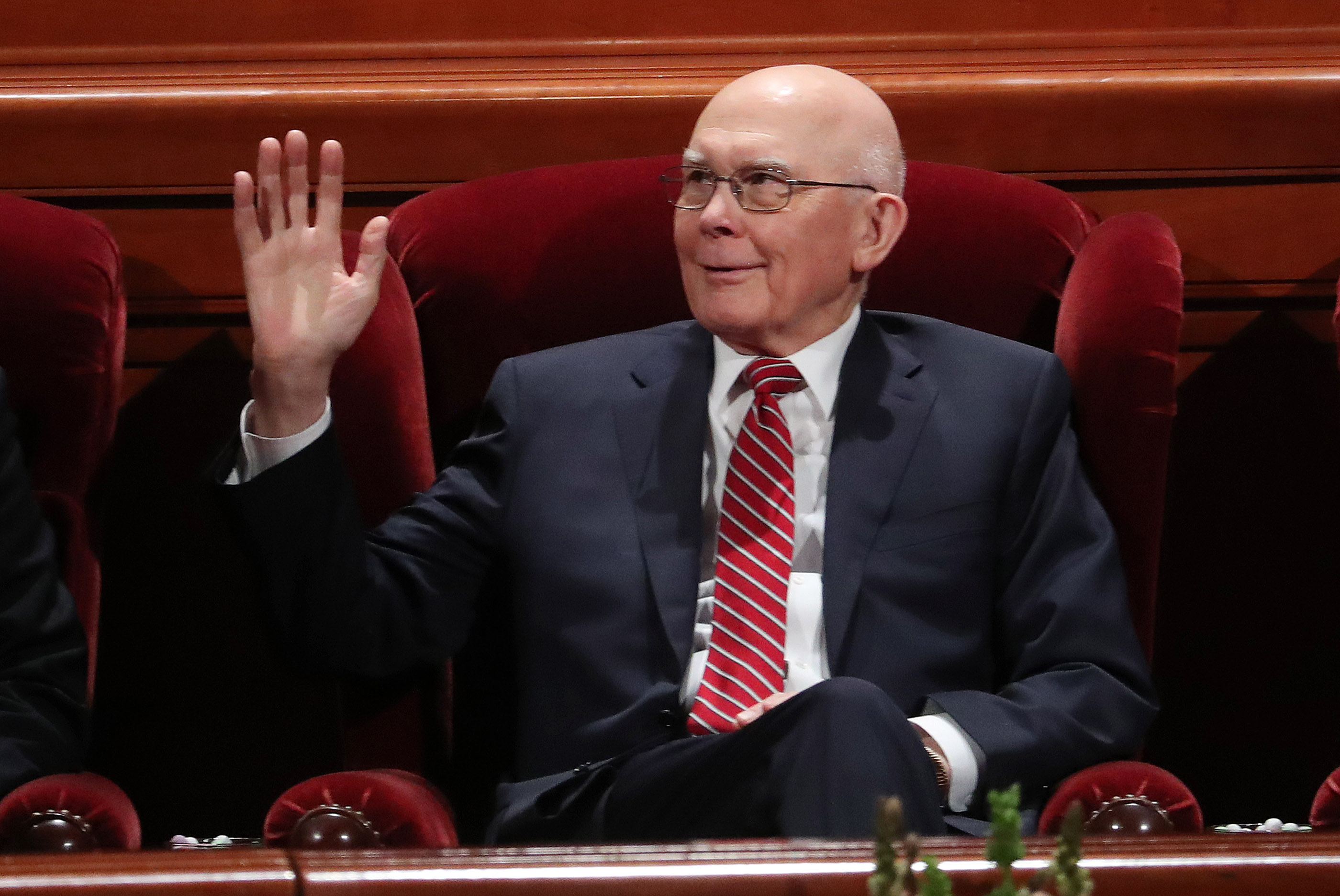 President Dallin H. Oaks, first counselor in the First Presidency, waves prior to the 189th Annual General Conference of The Church of Jesus Christ of Latter-day Saints in Salt Lake City on Sunday, April 7, 2019.