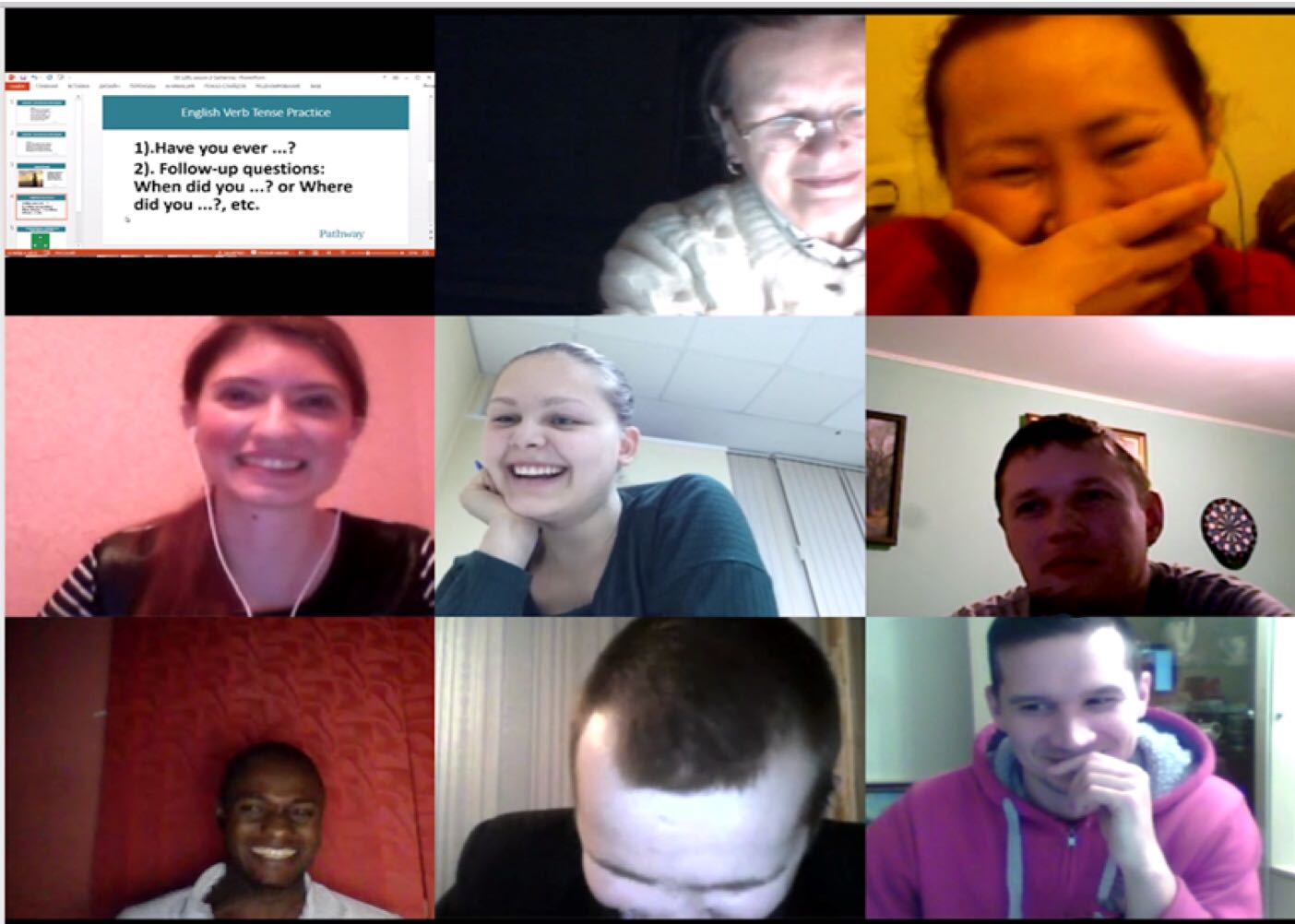 PathwayConnect students meet together online in weekly gatherings to review and discuss their course curriculum and assist each other in practicing English language skills.