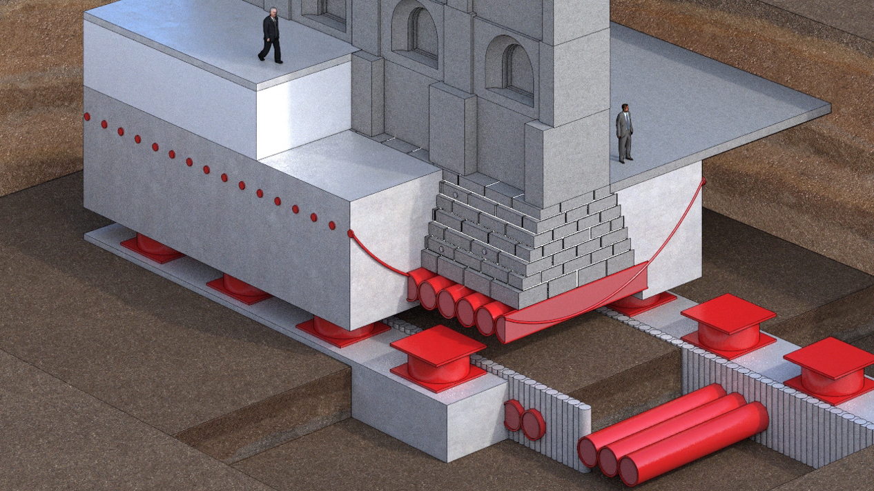 A rendering of the temple's base isolation phase.