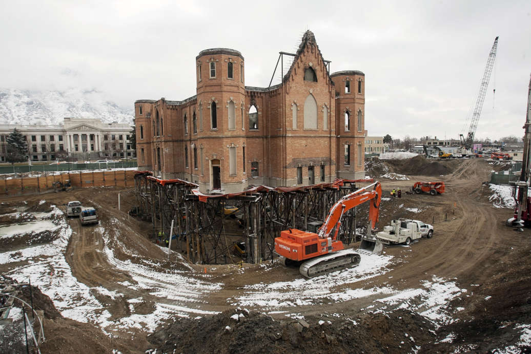 Construction continues on the old Provo Tabernacle Feb. 22, 2013 as crews convert it into an LDS Temple.