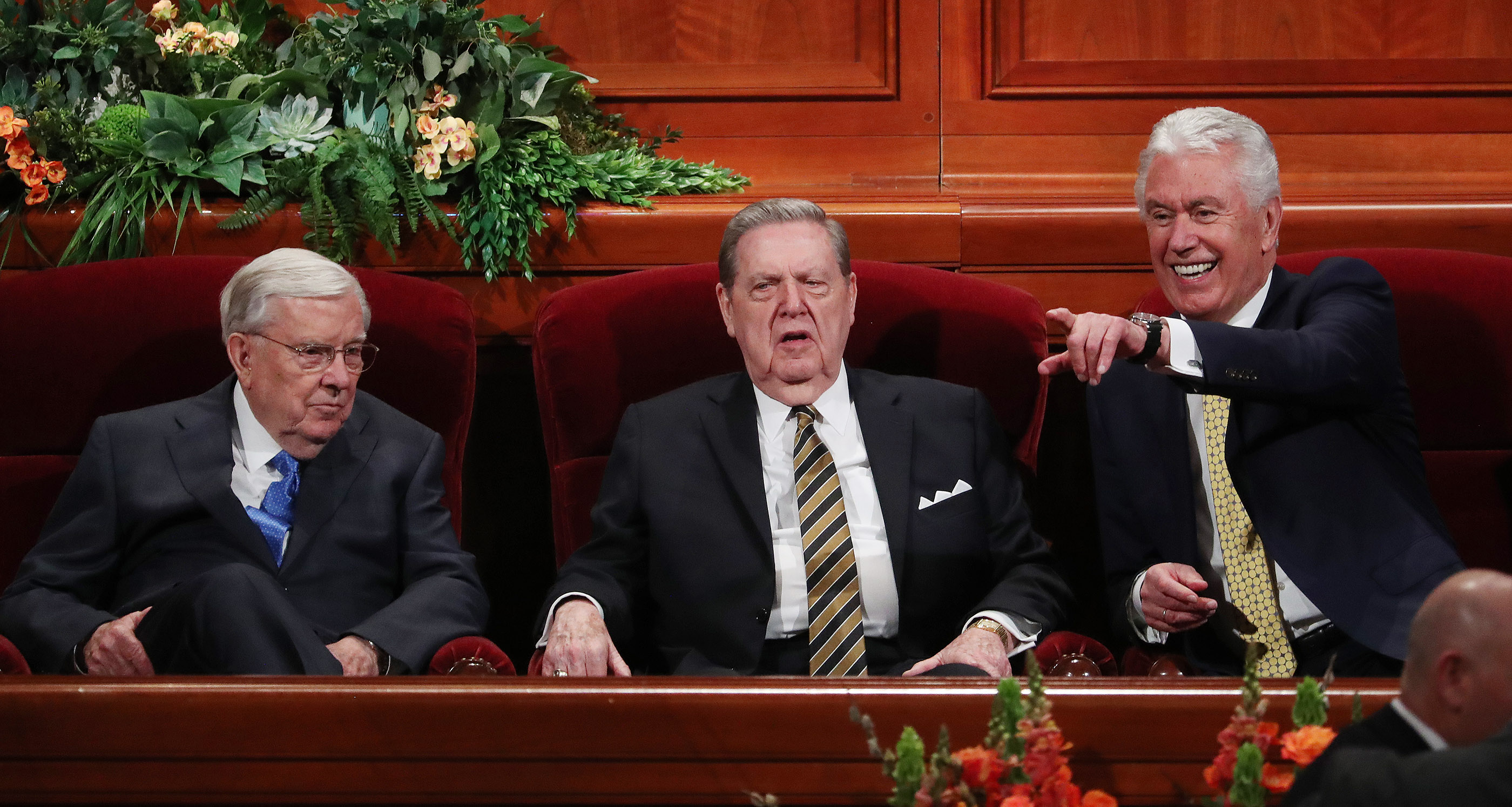 President M. Russell Ballard, acting president of the Quorum of the Twelve Apostles of The Church of Jesus Christ of Latter-day Saints, Elder Jeffrey R. Holland and Elder Dieter F. Uchtdorf react to attendees prior to the 189th Annual General Conference of The Church of Jesus Christ of Latter-day Saints in Salt Lake City on Saturday, April 6, 2019.