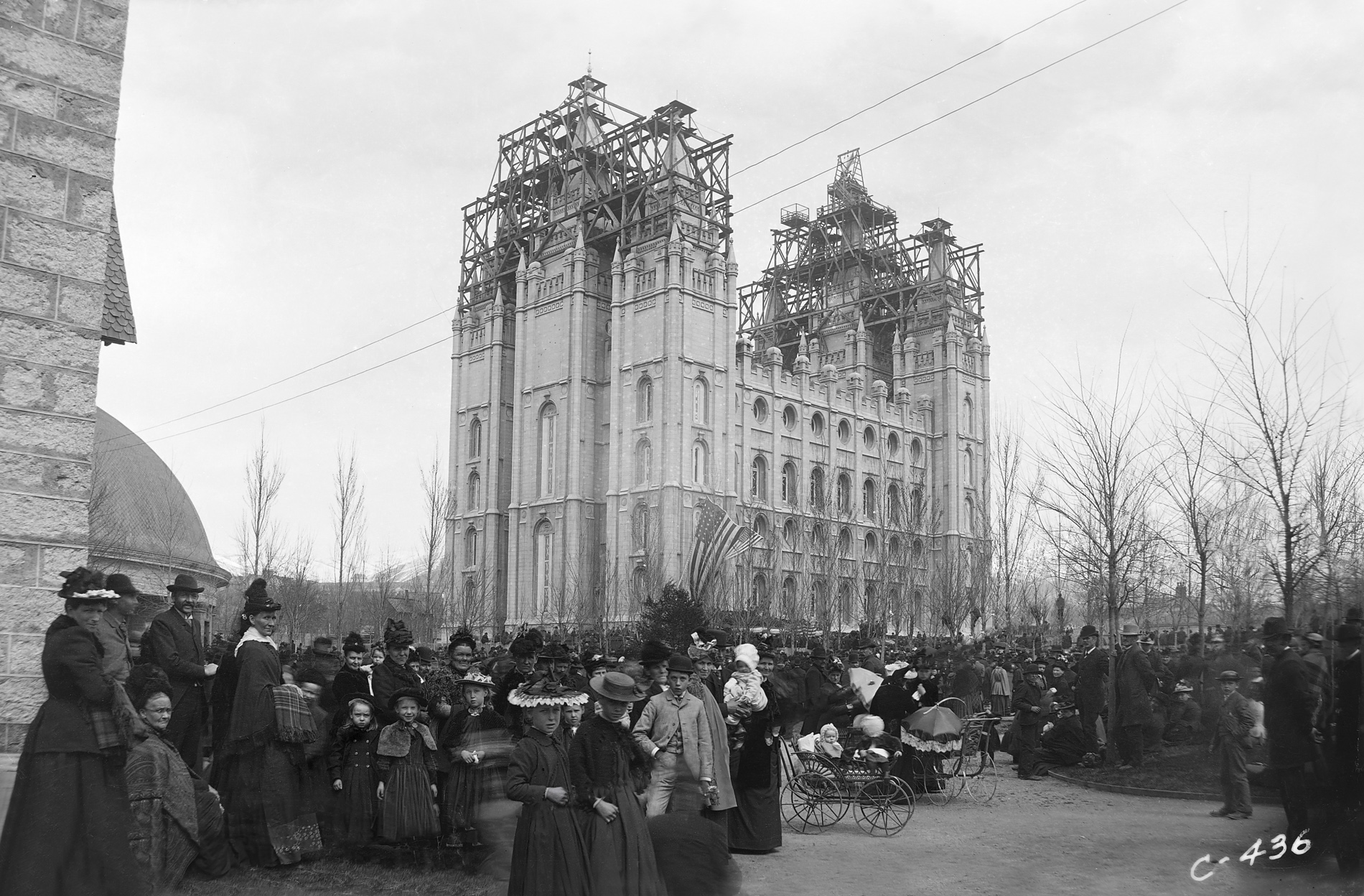 A crowd gathers at the capstone ceremony for the Salt Lake Temple on April 6, 1892. The temple was dedicated exactly one year later.