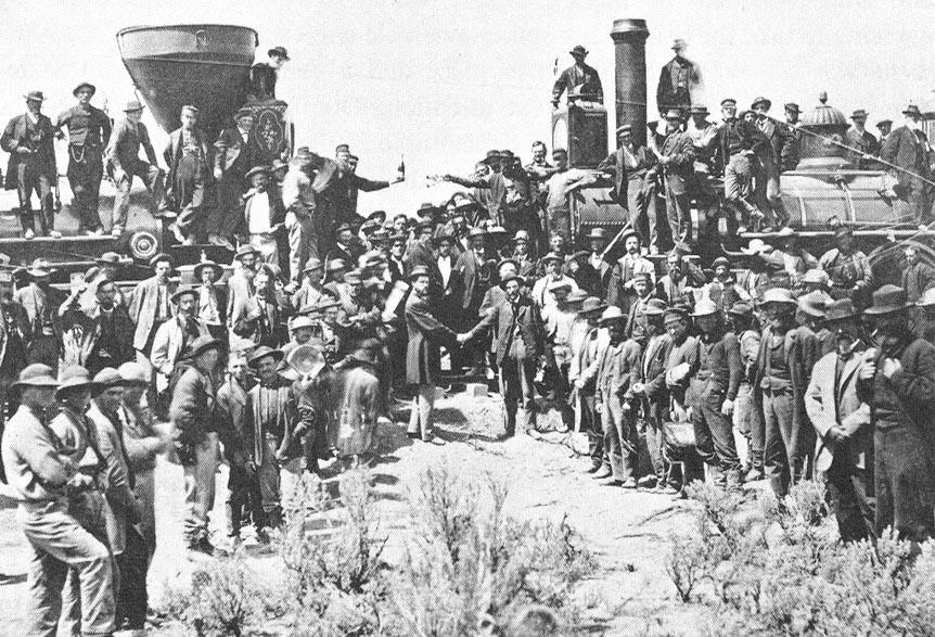 The ceremony commemorating the driving of the golden spike on the first transcontinental railroad in North America was held May 10, 1869.