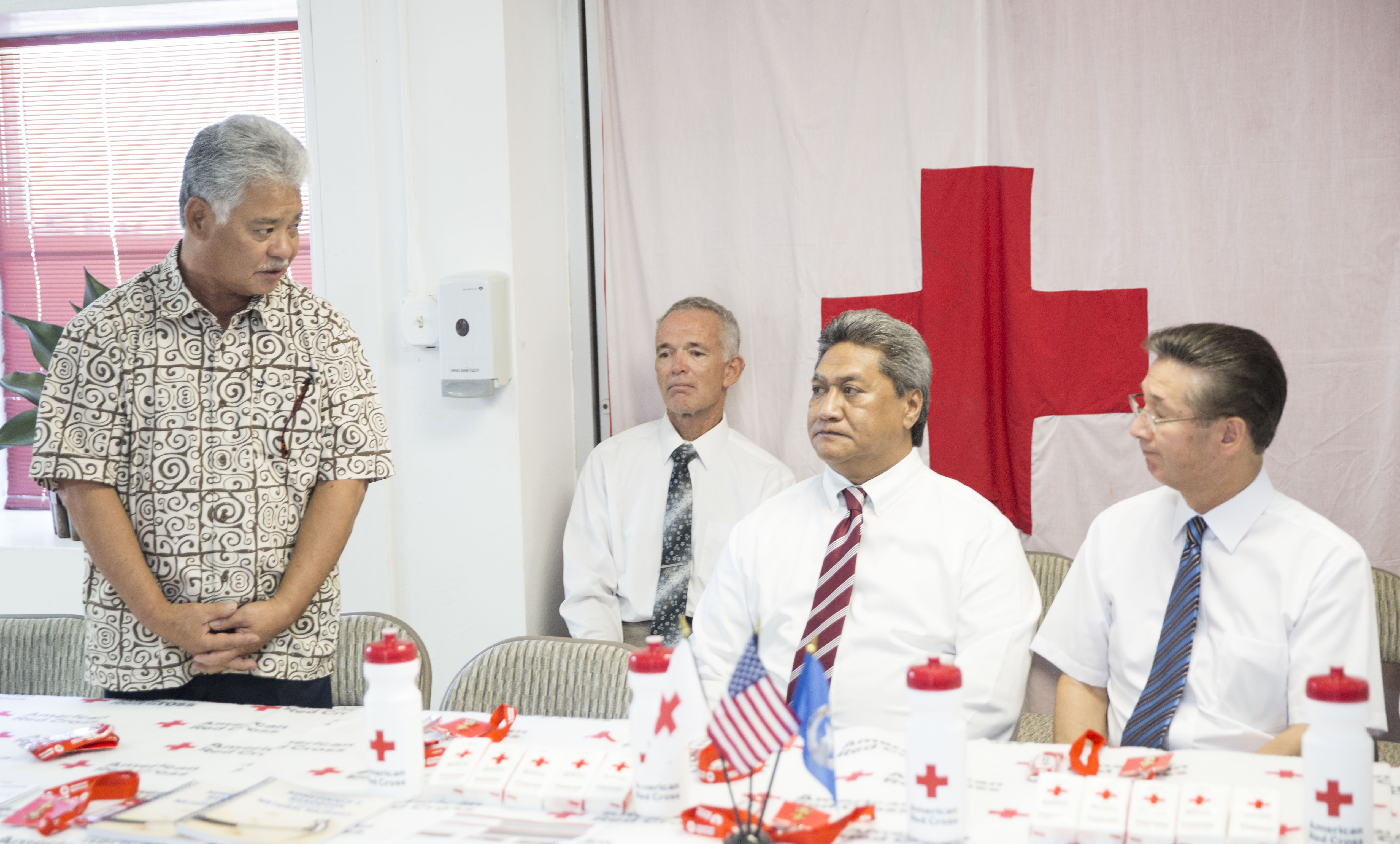 Church leaders and officials from the government and the Red Cross meet with the media to discuss typhoon relief efforts in Saipan, Northern Mariana Islands, Thursday, January 24, 2019. From left to right: Lt. Gov. Arnold Palacios; Valrick Welch, Saipan Ward bishop; Diego Sablan of the Barrigada Guam Stake presidency; and Elder Kazuhiko Yamashita, Asia North Area presidency.