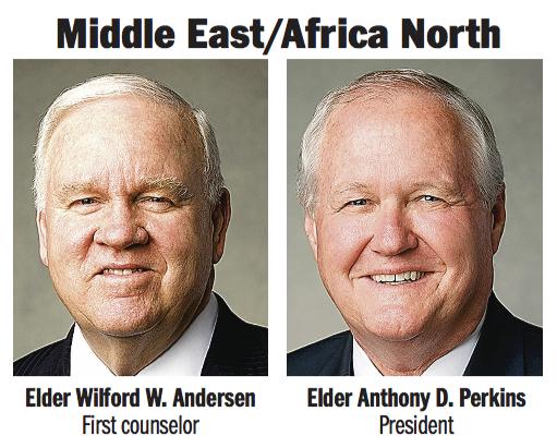 Middle East/Africa North Area presidency: Elder Anthony D. Perkins and Elder Wilford W. Andersen.