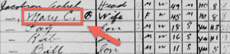 "A FamilySearch screenshot example of a name error in the 1940 U.S. Census, with Merry Christmas Jacobson incorrectly recorded as ""Mary."""
