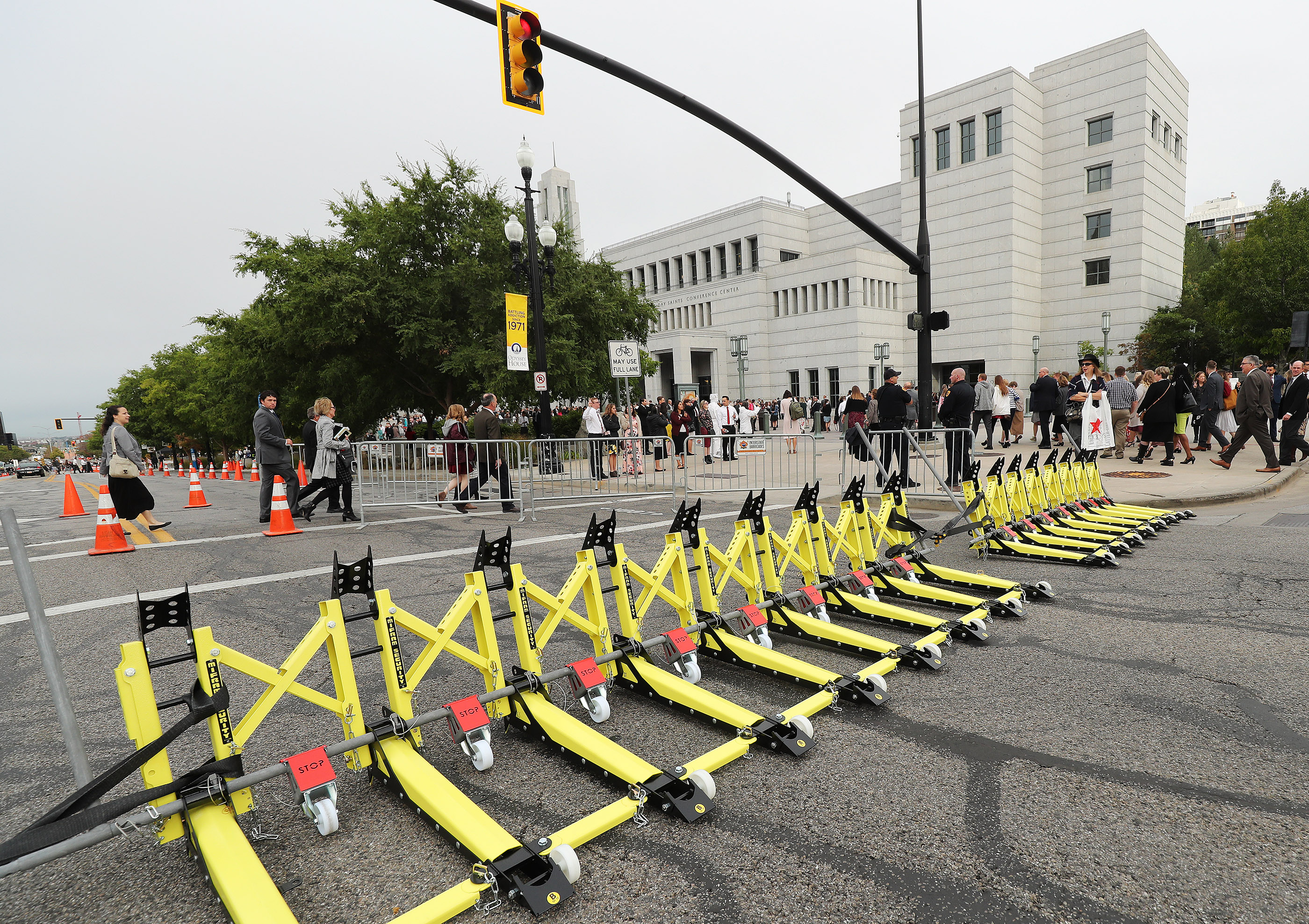 Road barricades line North Temple during the 188th Semiannual General Conference of The Church of Jesus Christ of Latter-day Saints in downtown Salt Lake City on Saturday, Oct. 6, 2018.