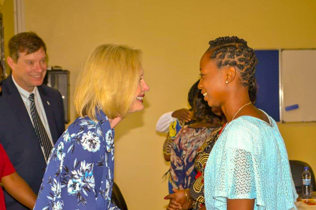 Sister Bonnie H. Cordon, Young Women general president, greets members in Lubumbashi, Democratic Republic of the Congo.
