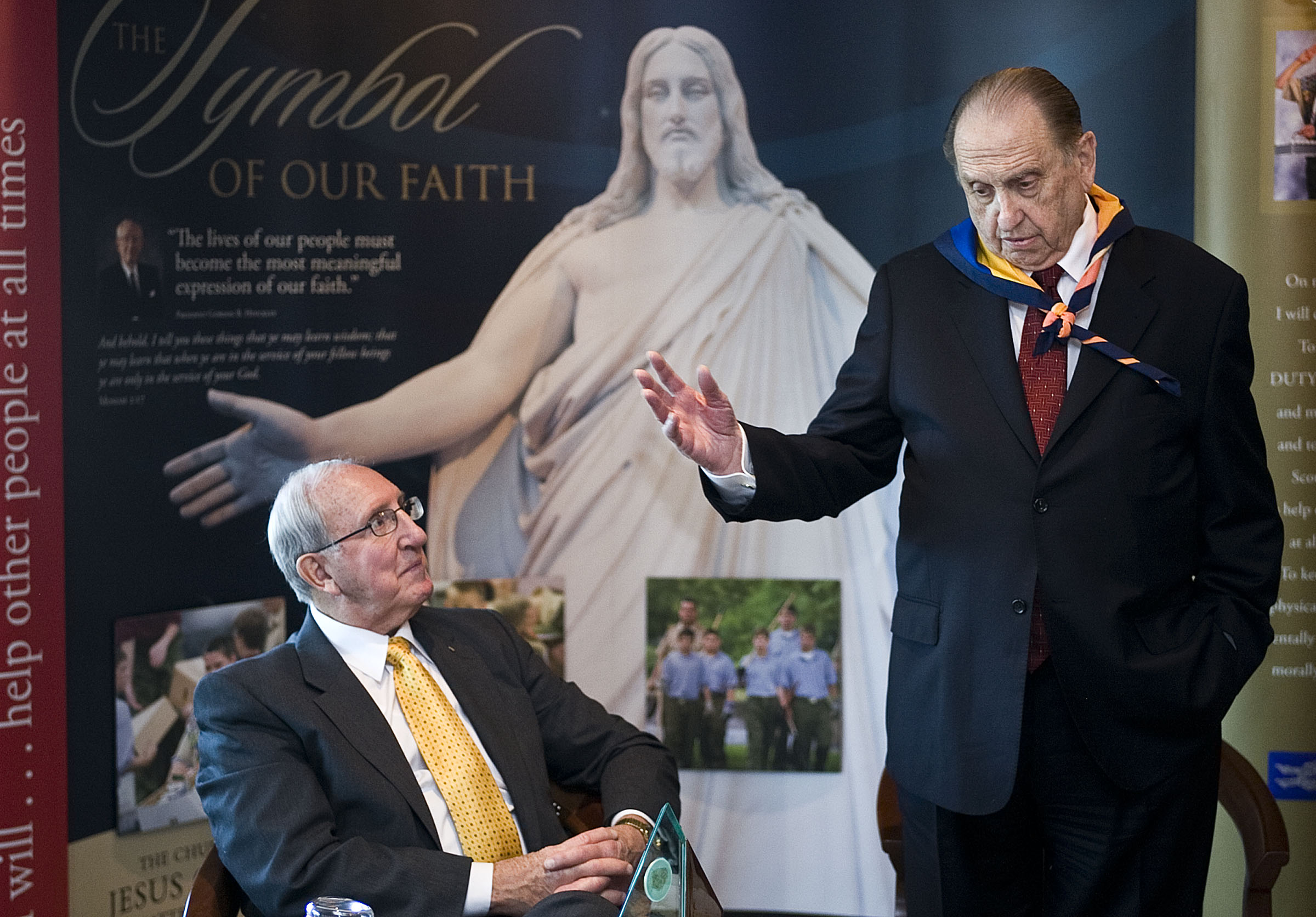 President Thomas S. Monson of The Church of Jesus Christ of Latter-day Saints, right, and Elder Vaughn J. Featherstone, seated, attend a meeting with the Church's current and former members of the Young Men general presidency at the Joseph Smith Memorial Building in Salt Lake City on Feb. 2, 2009. Elder Featherstone was YM general president from 1985 to 1990.