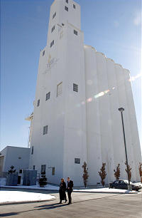 The iconic 178-foot-tall grain elevator at the Church's Welfare Square stands as a symbol of the Church's commitment to helping others help themselves.
