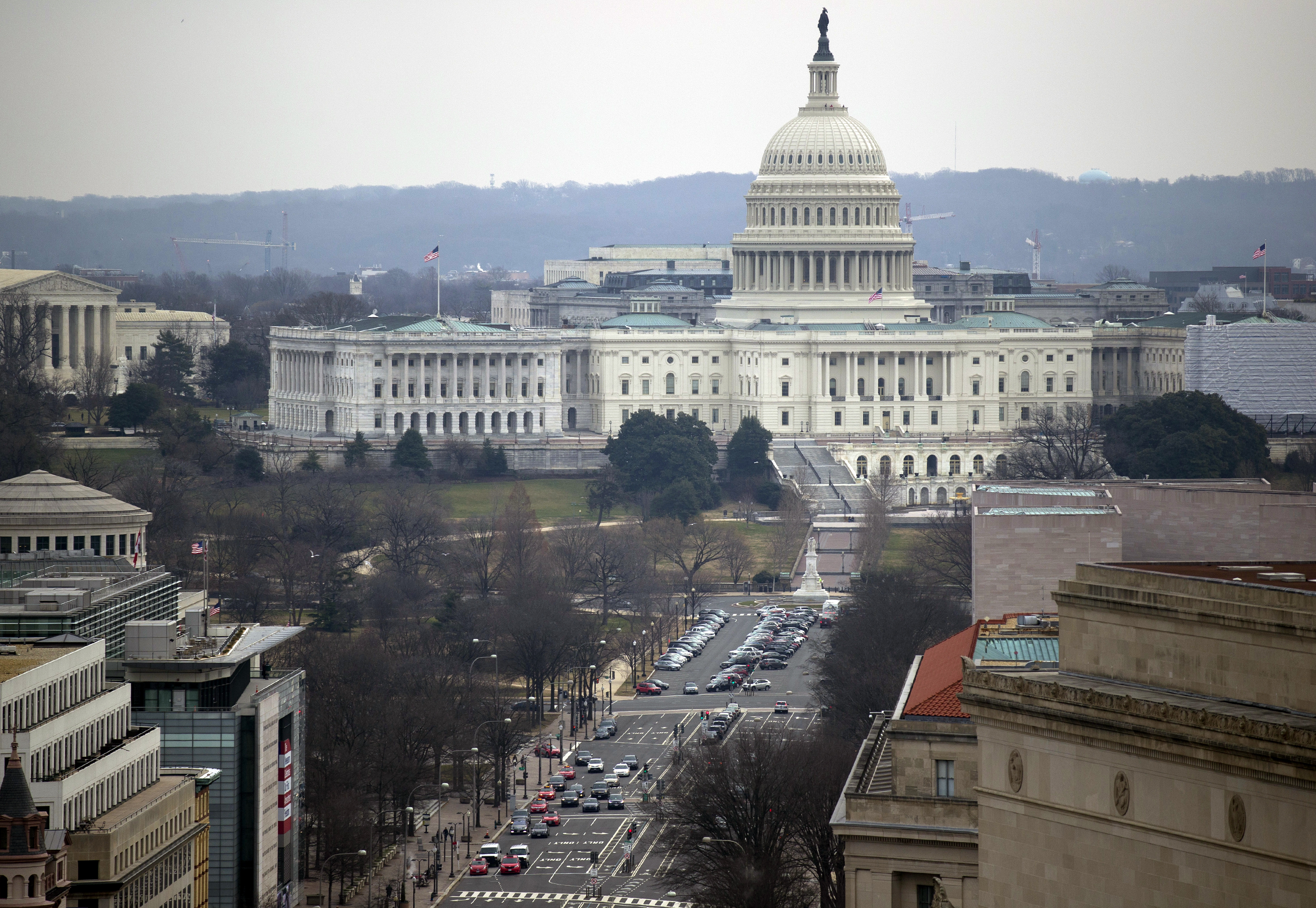 Pennsylvania Avenue leads to the U.S. Capitol as seen from the Old Post Office Pavilion Clock Tower on Friday, Jan. 4, 2019 in Washington.