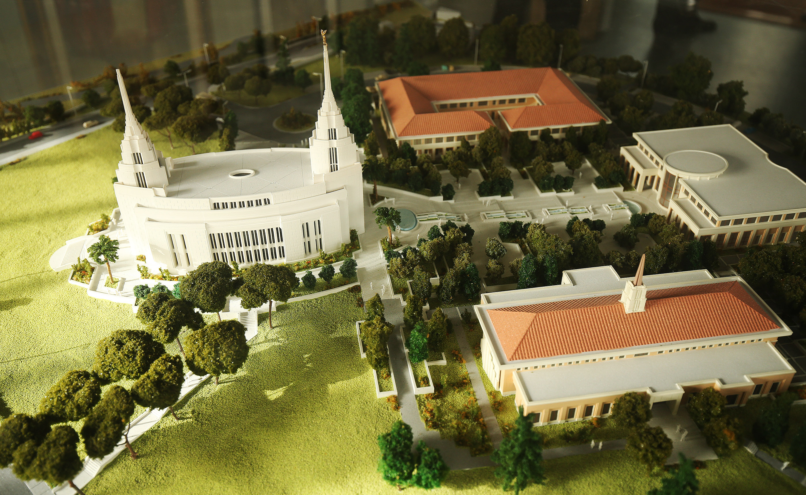 A display model shows the Rome Italy LDS Temple and grounds.