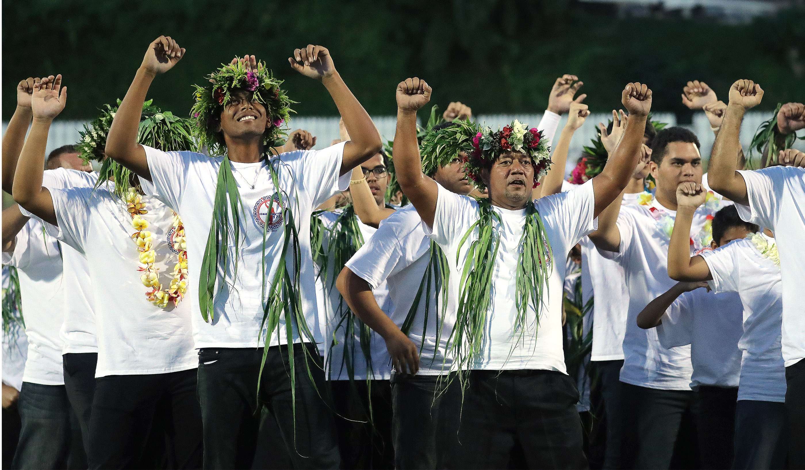 Entertainers perform the haka during a Tahiti cultural program in Papeete, Tahiti, on May 24, 2019.