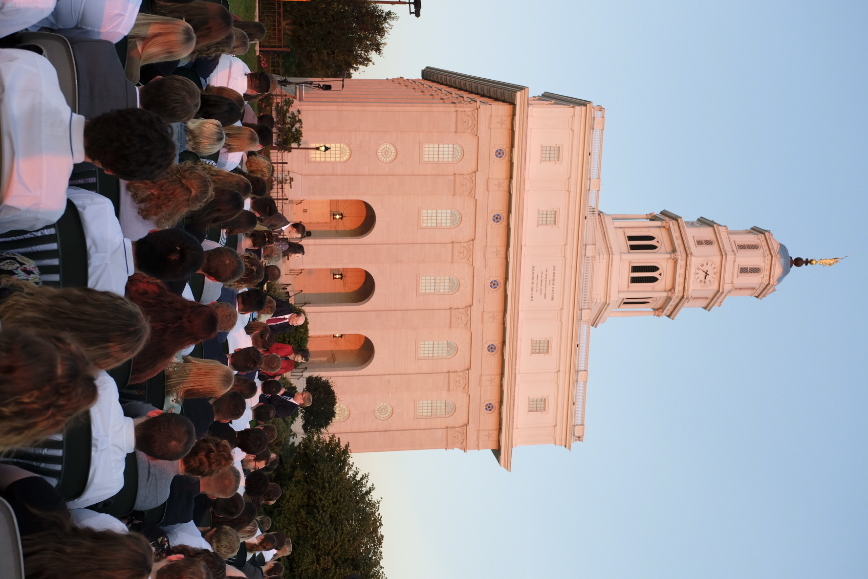 """From the foot of the Nauvoo Illinois Temple, a worldwide """"Face to Face"""" broadcast focuses on the history of the Church on Sept. 9, 2018. Participating were Elder Quentin L. Cook of the Quorum of the Twelve Apostles and Church historians Kate Holbrook and Matt Grow."""