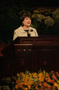 Sister Ann M. Dibb, second counselor in the Young Women general presidency, speaks during the annual General Young Women Meeting in the Conference Center on Saturday, March 30, 2013.