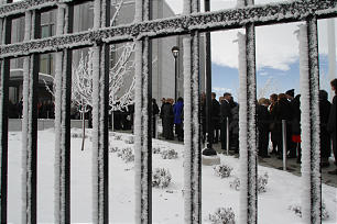 Snow accents a fence as members line up to enter the Calgary Alberta Temple for its dedication on Sunday, Oct. 28. Sunday, Oct., 28, 2012. Photo by Gerry Avant