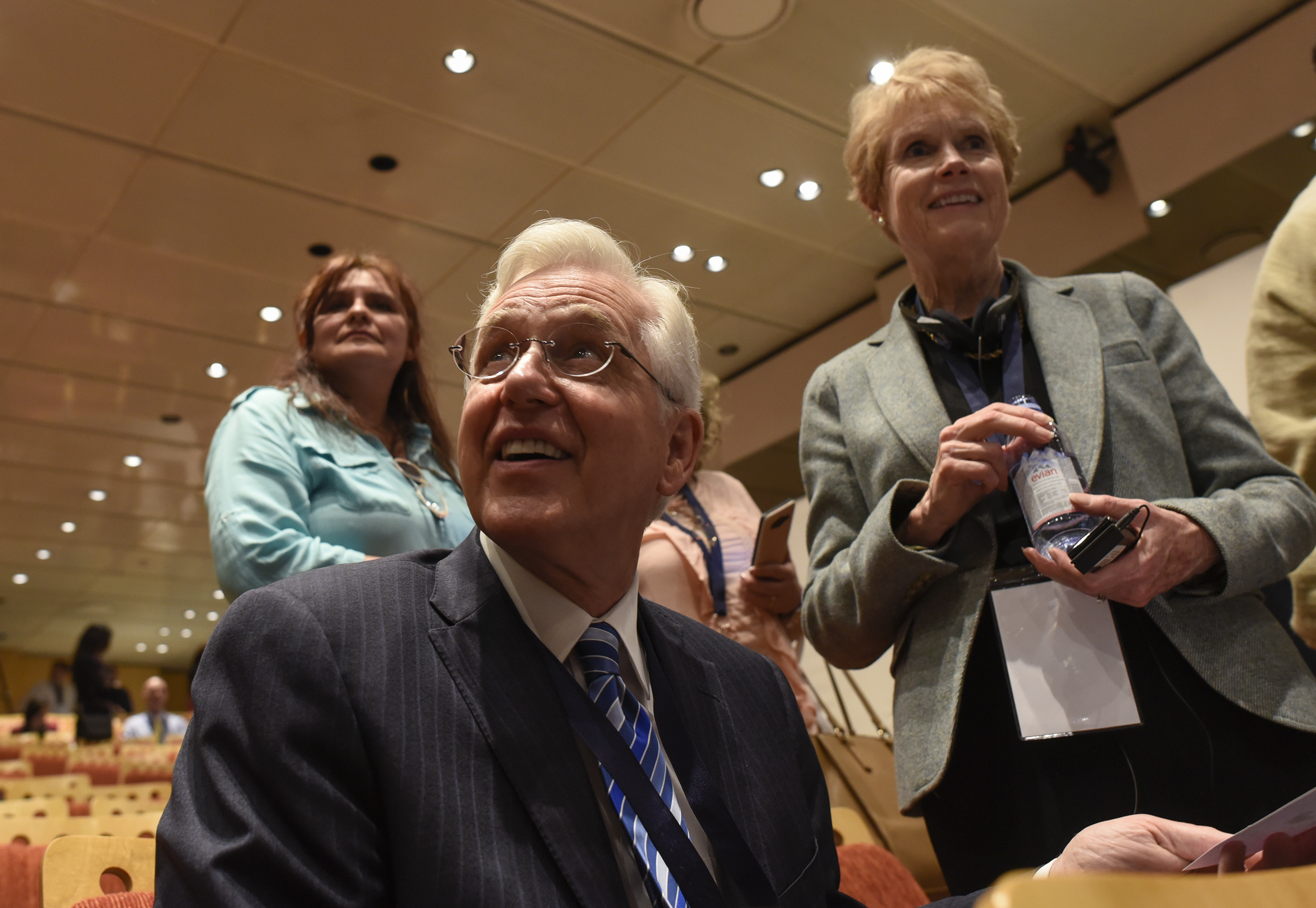 Elder D. Todd Christofferson and his wife, Sister Kathy Christofferson, greet others during a break at the G20 Interfaith Forum in Buenos Aires, Argentina, on Wednesday, Sept. 26, 2018.
