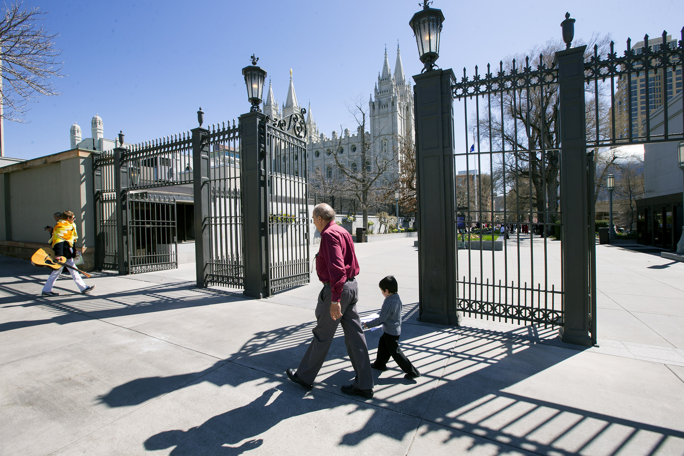 The gates to Temple Square during the 188th Annual General Conference of The Church of Jesus Christ of Latter-day Saints in Salt Lake City on Sunday, April 1, 2018.