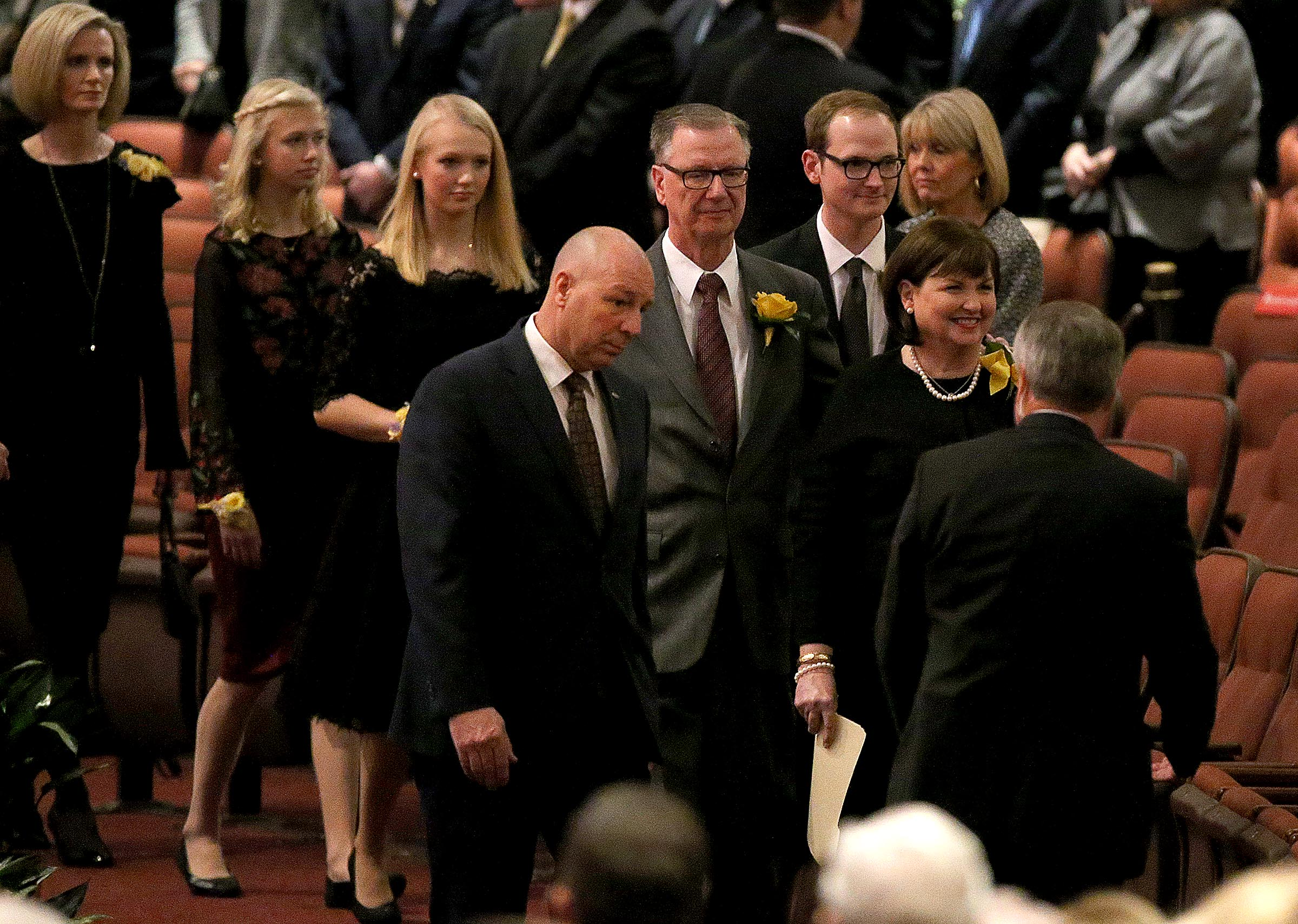 Members of President Thomas S. Monson's family arrive at the Conference Center for President Monson's funeral in Salt Lake City on Friday, Jan. 12, 2018.