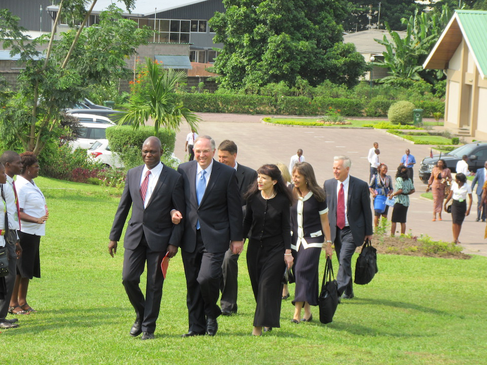 Elder Neil L. Andersen of the Quorum of the Twelve Apostles of the Church and his wife, Kathy, are escorted to the site of the groundbreaking ceremony of the Kinshasa Democratic Republic of the Congo Temple. (Photo: © 2016 Intellectual Reserve, Inc. All rights reserved)