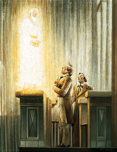 Elijah visits the Prophet Joseph Smith and Oliver Cowdery in the Kirtland Temple as pictured in this painting by artist Gary E. Smith.