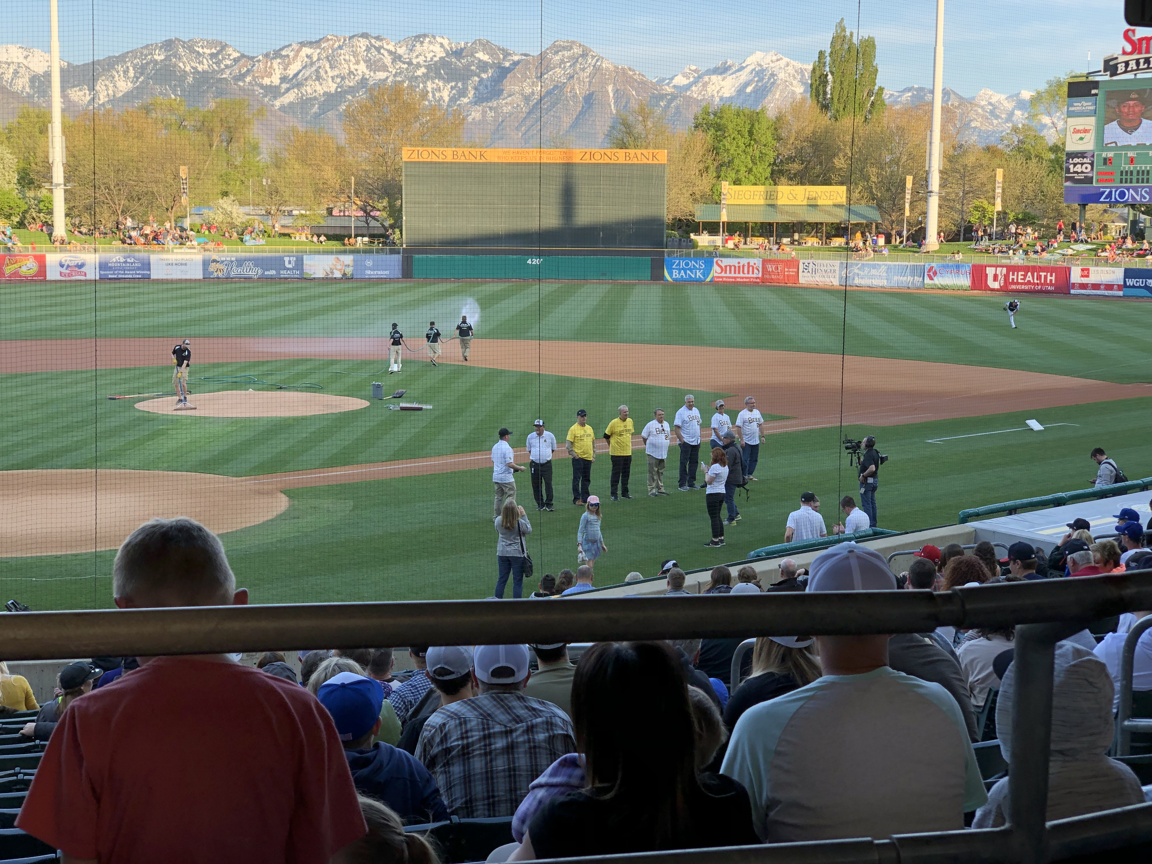 JustServe and volunteers are honored at the Salt Lake Bees game on April 27.